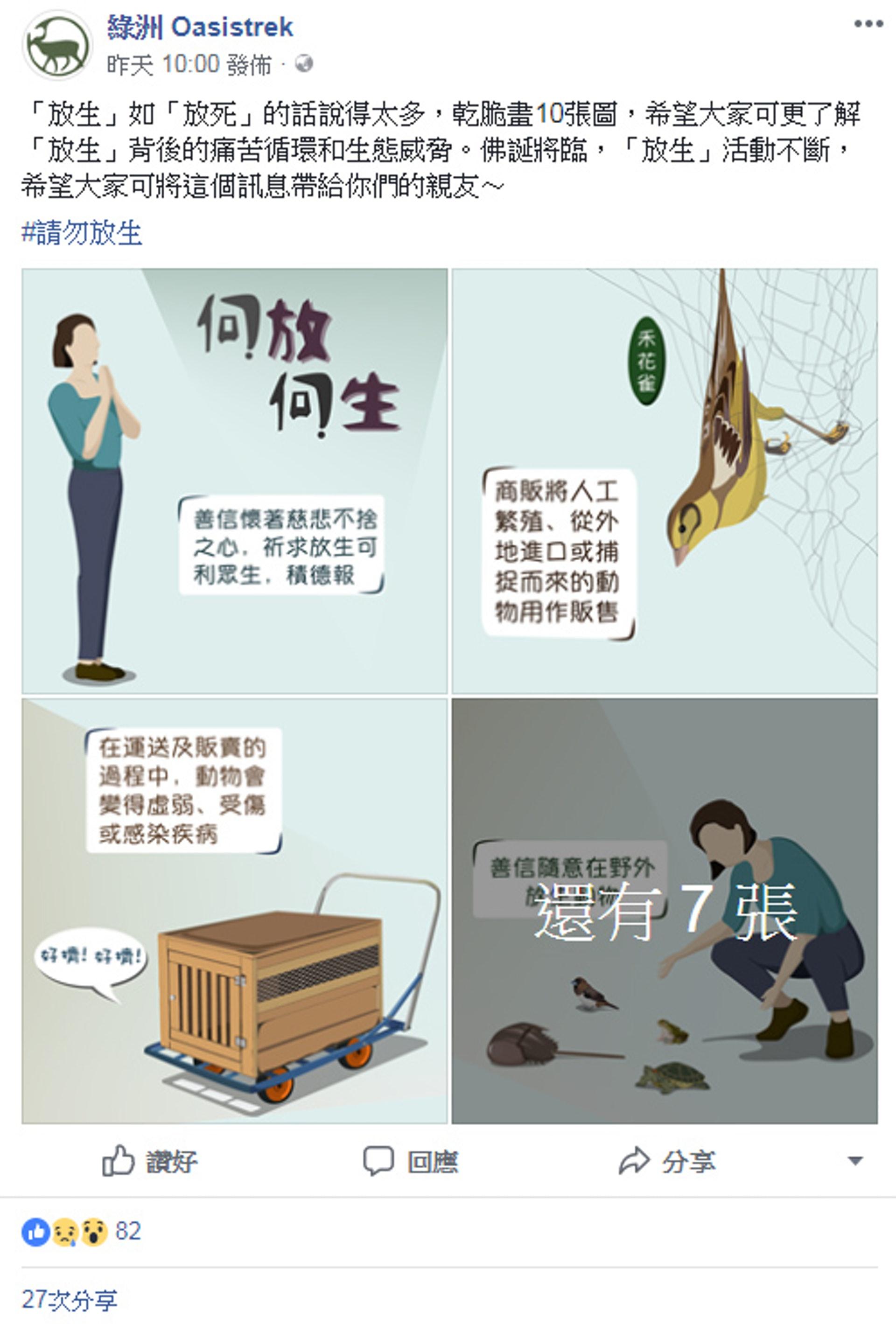 關注香港自然生態的網站「綠洲 Oasistrek」,在facebook專頁發佈10張自創插畫,解釋放生的壞影響。(fb專頁「綠洲 Oasistrek」截圖)
