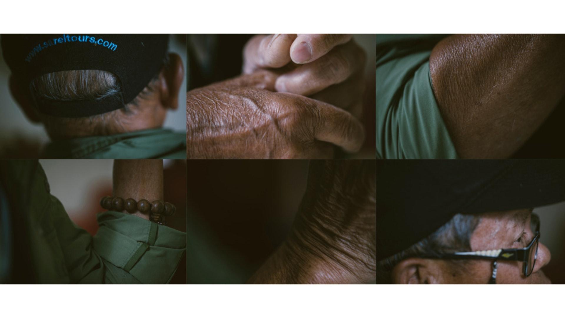 一身黝黑的皮膚與皺紋,見證李景華近50年的花王人生。(鄭子峰攝)