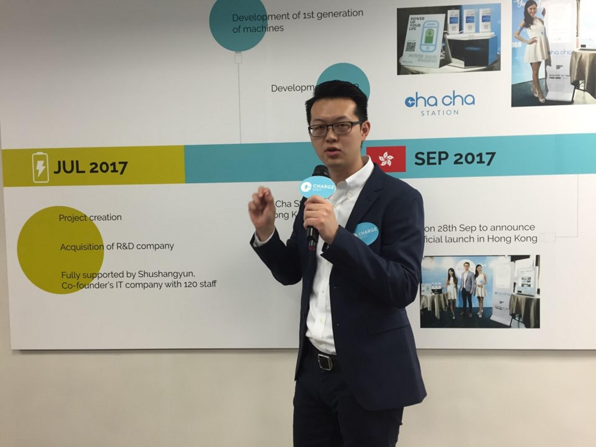 ChargeSpot聯合創辦人陳德群表示,自去年9月投入服務後反應不俗,未來將會進軍泰國及馬來西亞等地區。(陳晶琦攝)