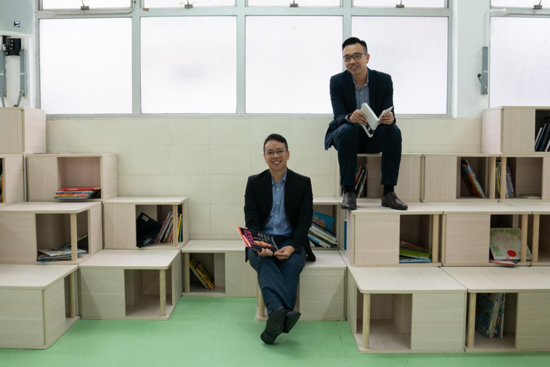 漢師德萃學校校長馮鑑邦(左)。