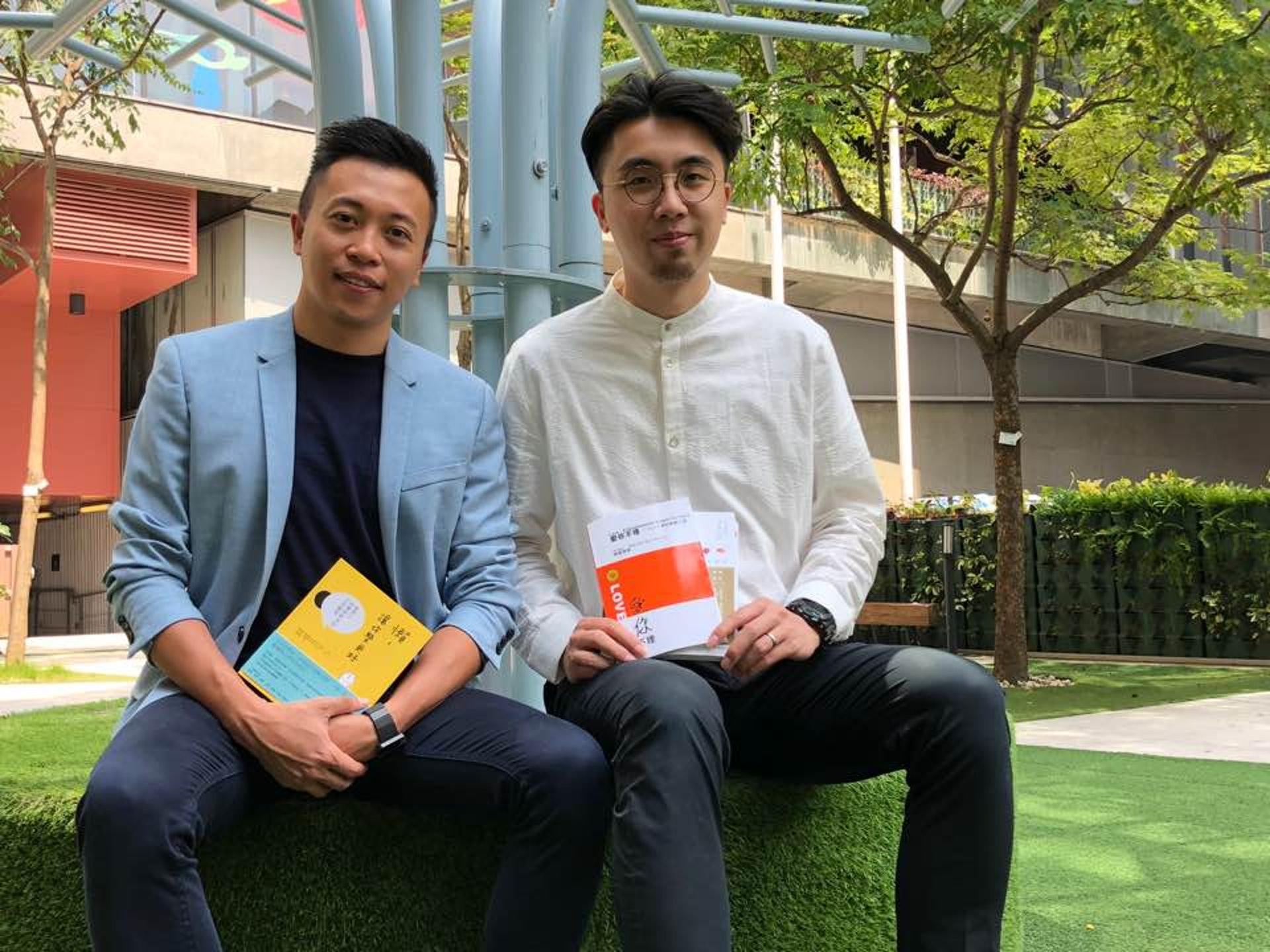 陳健康(左一)說,書本和音樂的關係猶如咖啡和牛奶,因此邀請Kingman屆時分享音樂治療的相關經驗。(文雪萍攝)