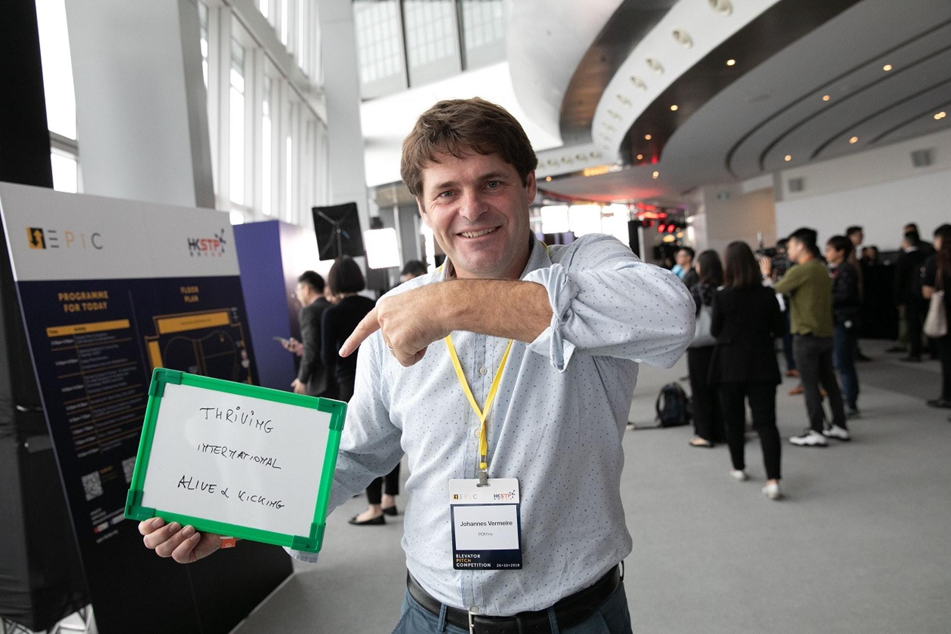 【Thriving、International、Alive & Kicking】首次體驗Elevator Pitch的比利時創企POM創辦人Johannes Vermeire對是次活動大感興奮,並在是次來旅程中爭取了與一些亞洲單位洽談的機會,亦對香港發展創科事業抱持積極態度。