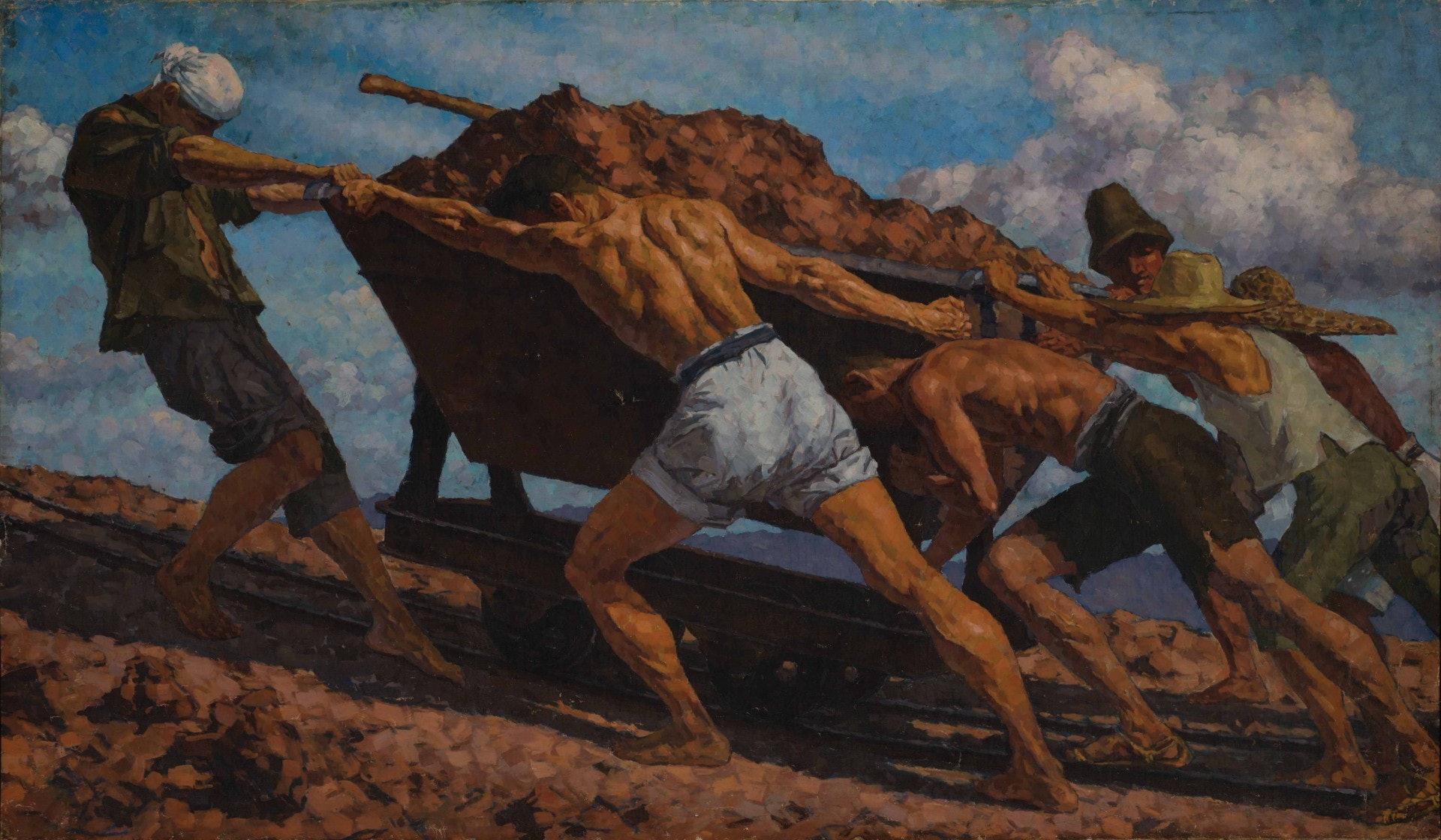張安治《群力》(1936,布面油彩)