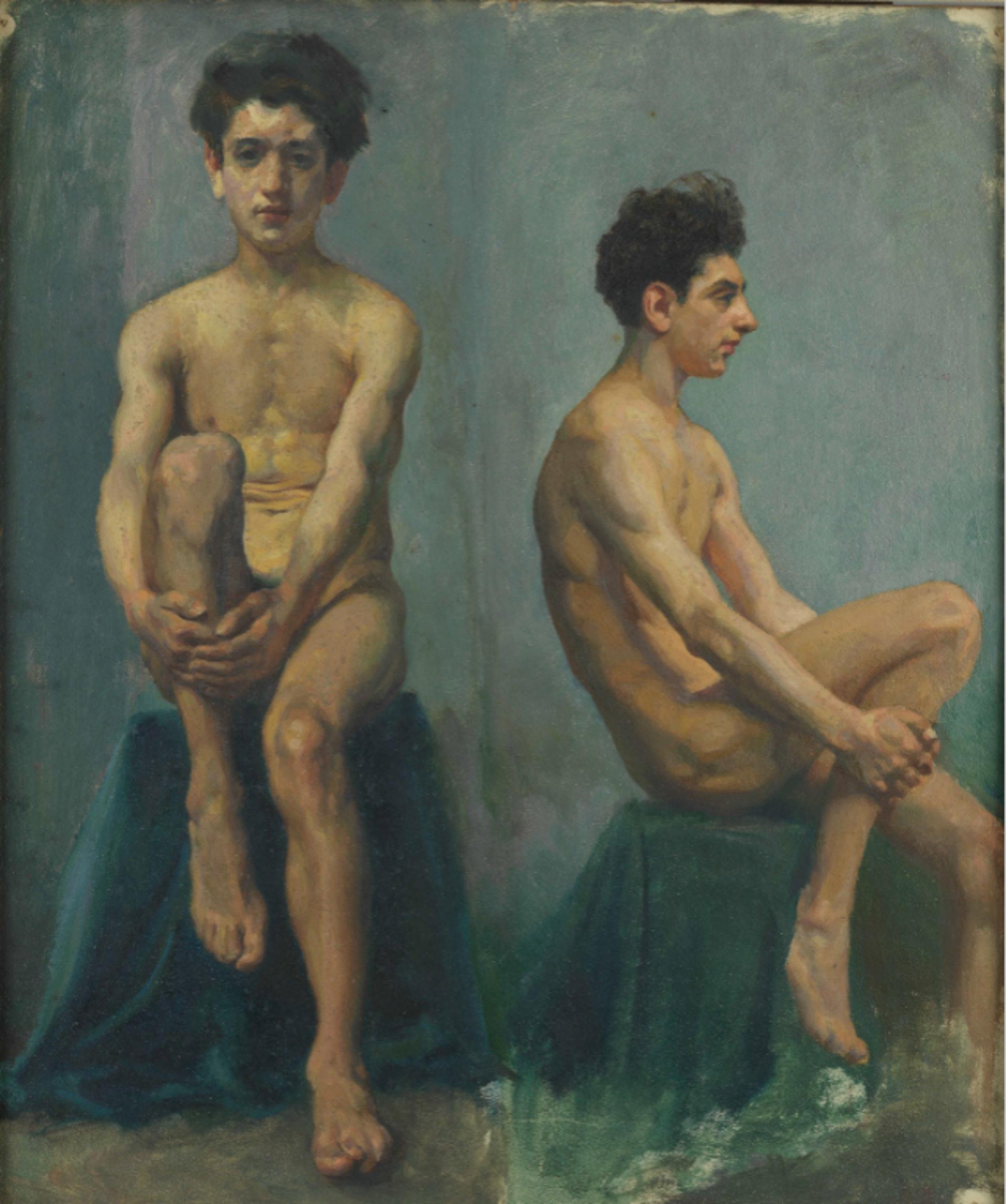 徐悲鴻《男人體正側面速寫》(1924,布面油彩)。