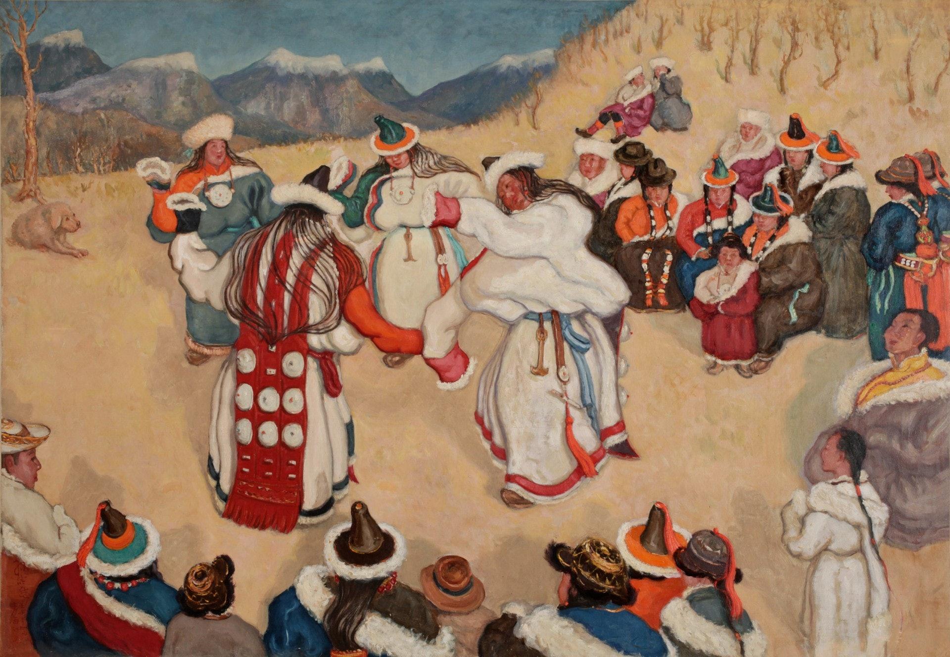 孫宗慰《蒙藏女子歌舞》(1942,布面油彩)。