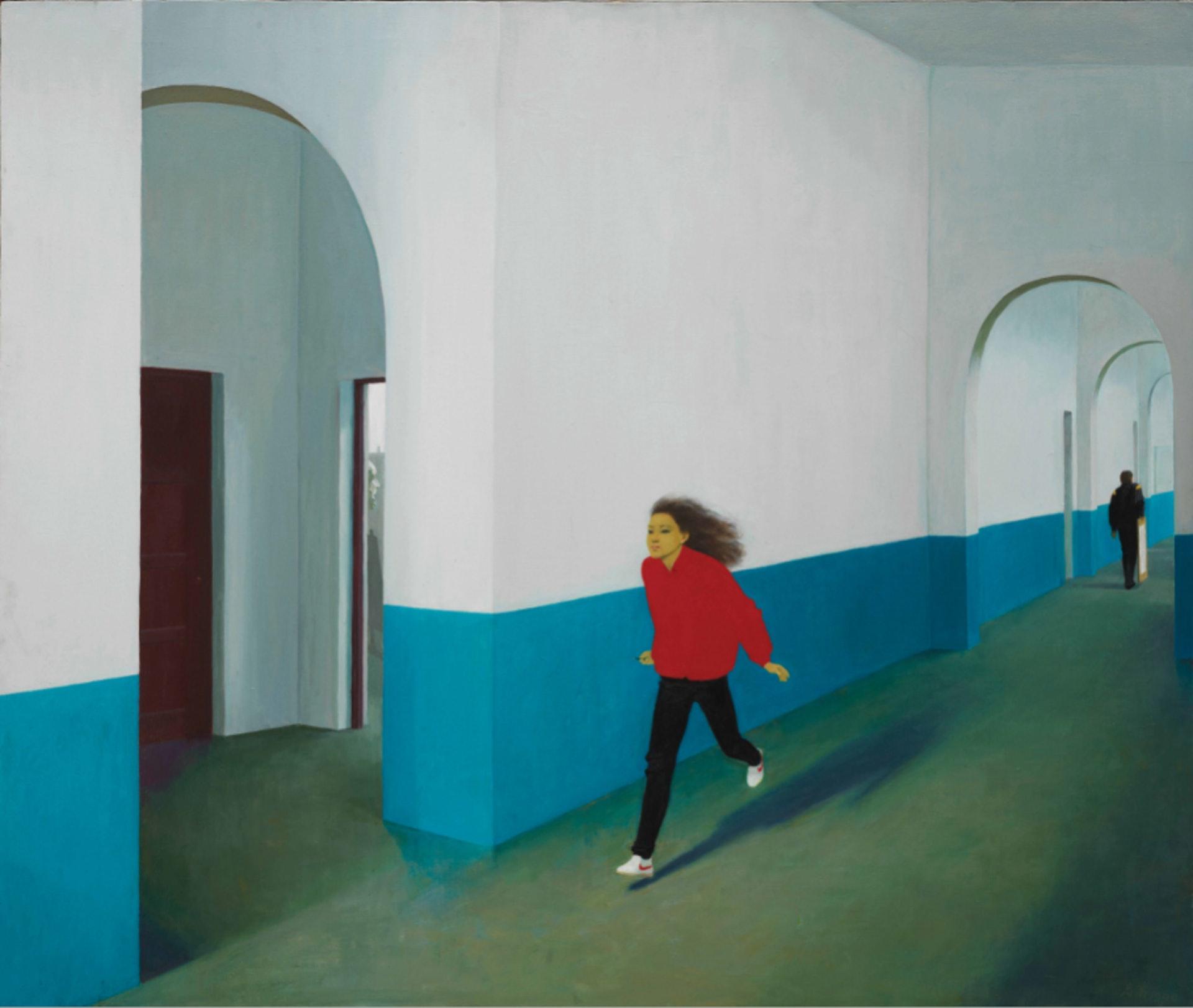 韋啟美《附中的走廊》(1990,布面油彩)。