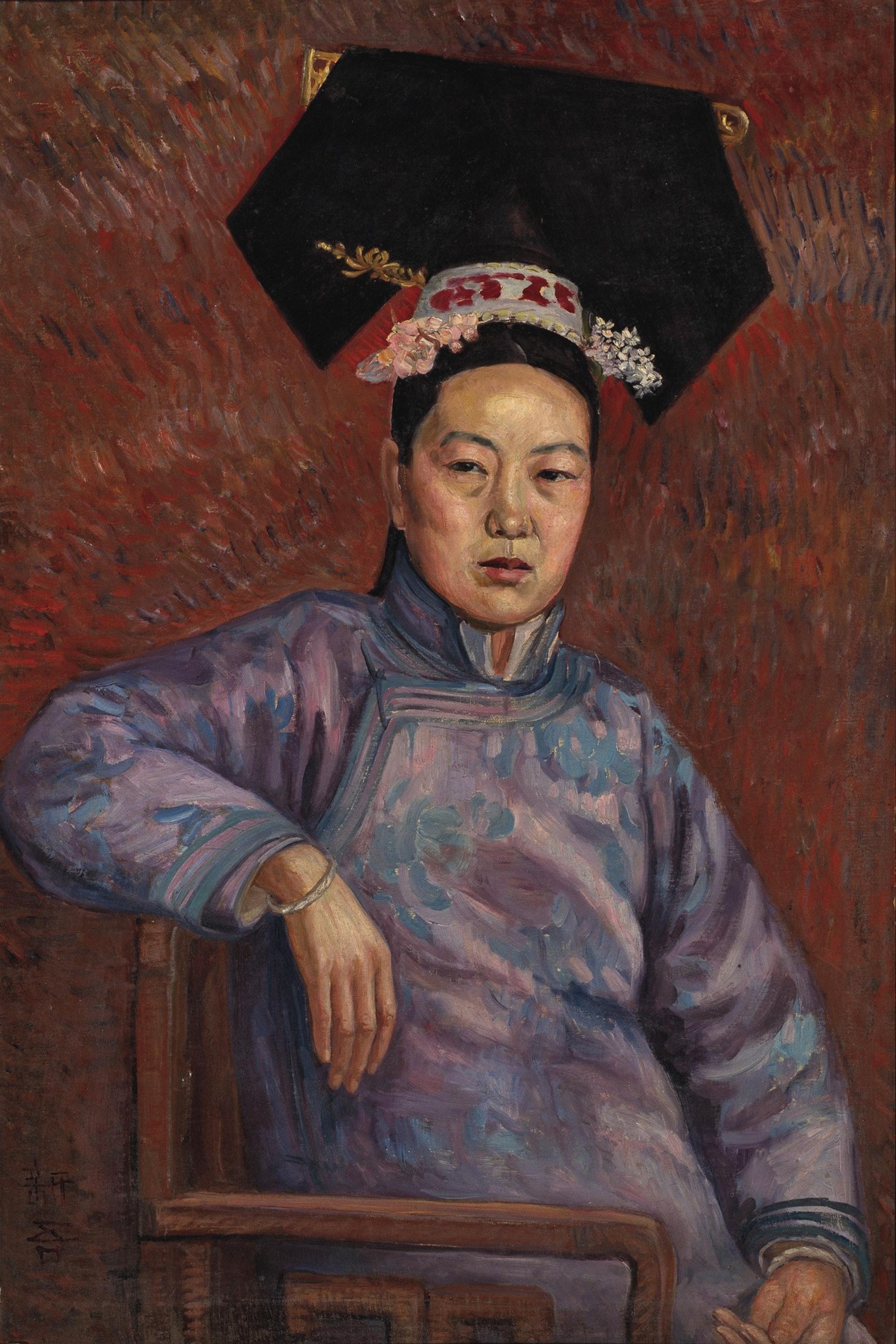 吳法鼎《旗裝女人像》(1920年代,布面油彩)