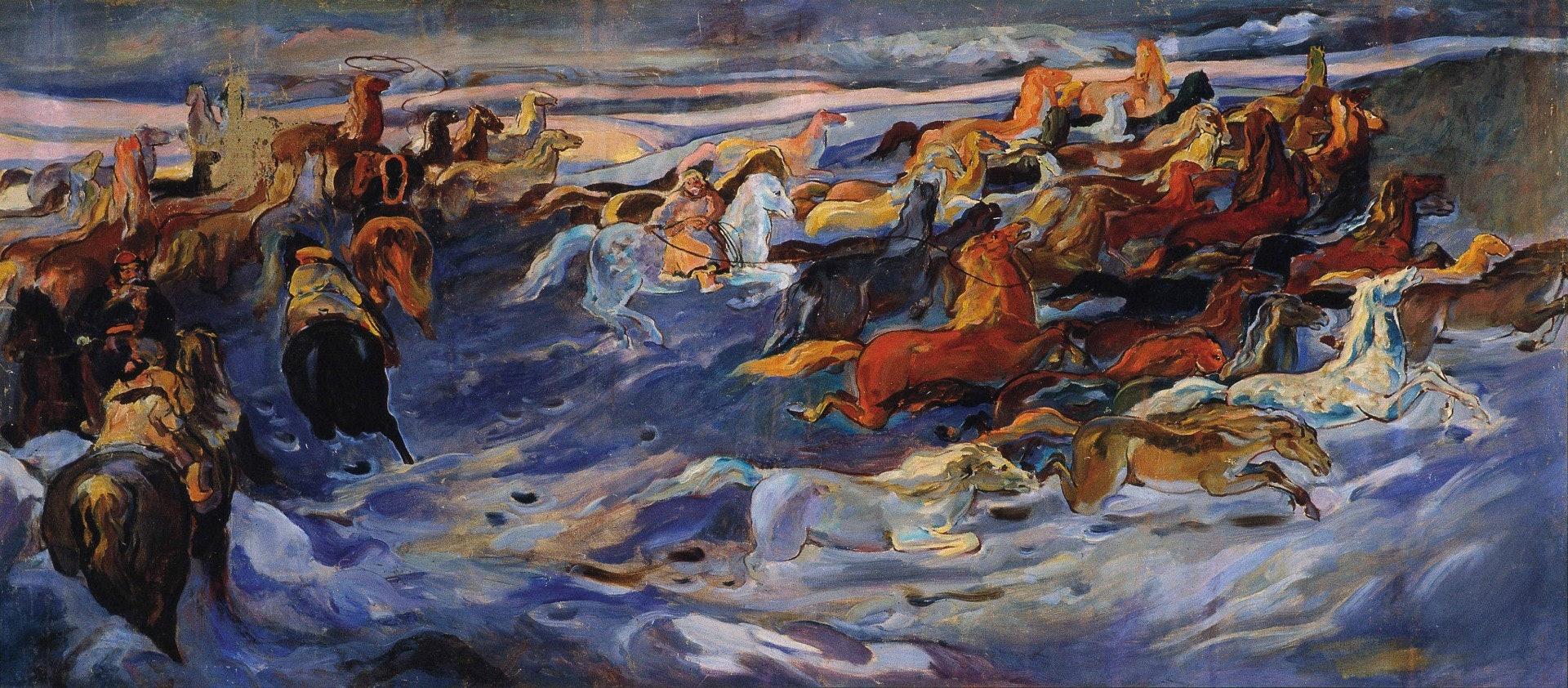 司徒喬《套馬》(1955,布面油彩)