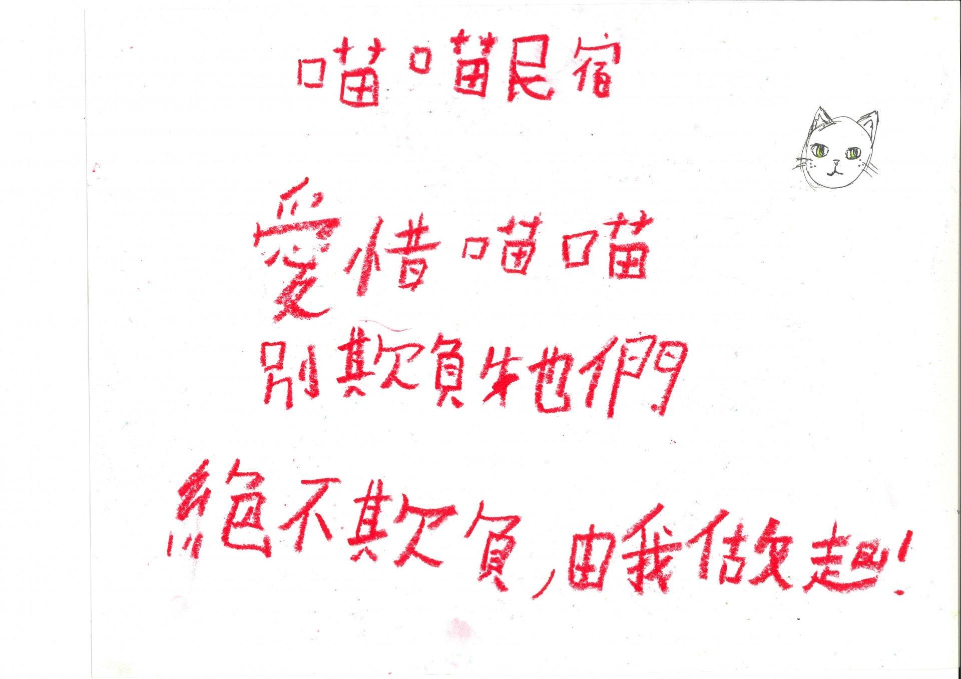 小朋友為他們的'喵喵民宿'這項目設計了海報, 標誌 及標語。(德萃小學圖片)