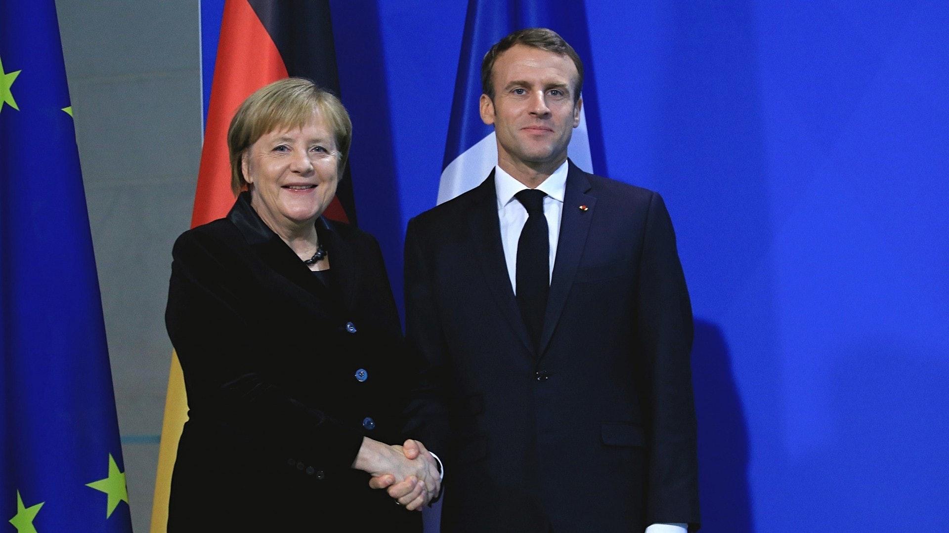 法國總統馬克龍11月18日到訪德國,與總理默克爾會面。兩人討論包括歐元區預算以及「歐洲建軍」等議題。(視覺中國)