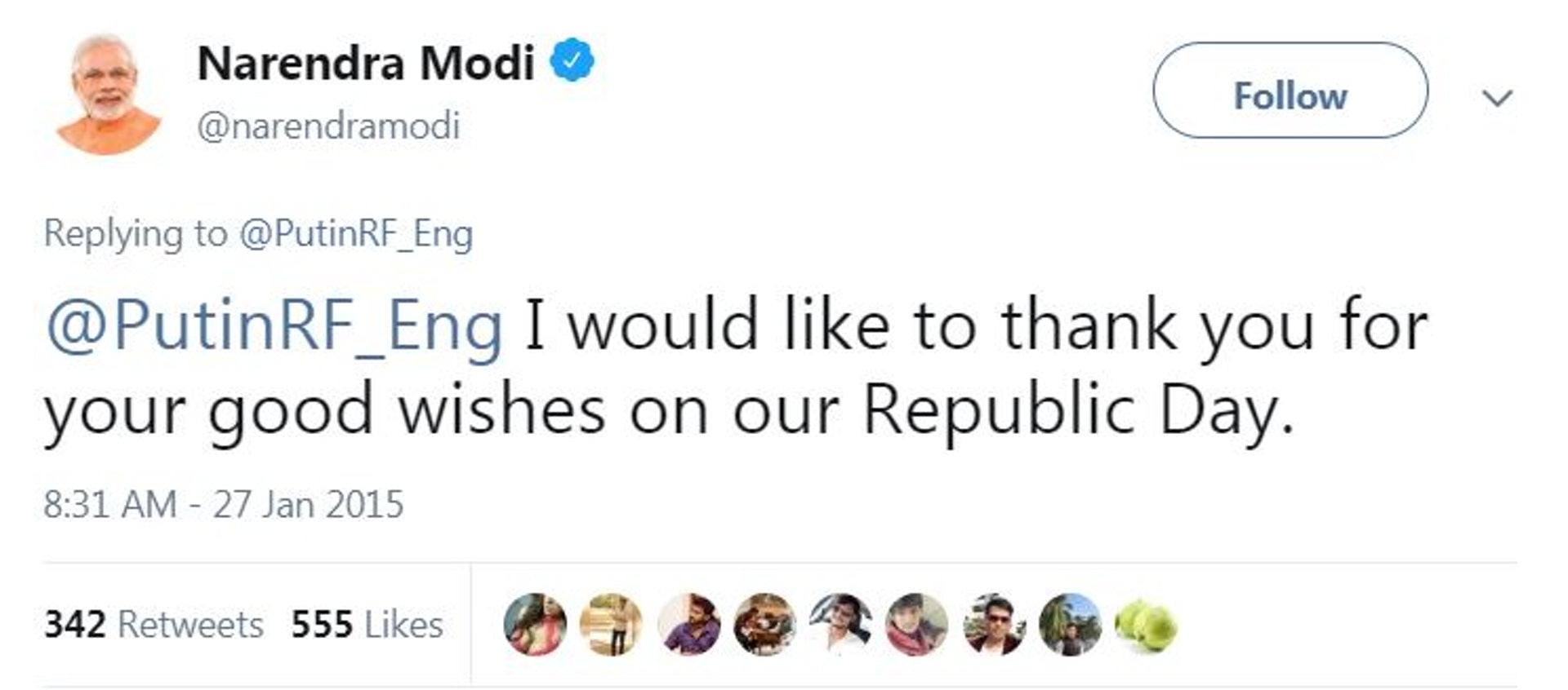 冒認普京的Twitter帳號騙術高超,連印度總理也標籤它,與「普京」對話。(截自Twitter)