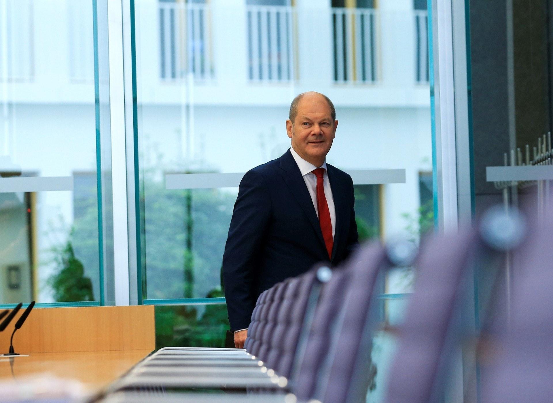 德國副總理兼財政部長肖爾茨(Olaf Scholz)28日在柏林演講中提出「法國應讓出聯合國常任理事國席位給歐洲」的倡議。(視覺中國)