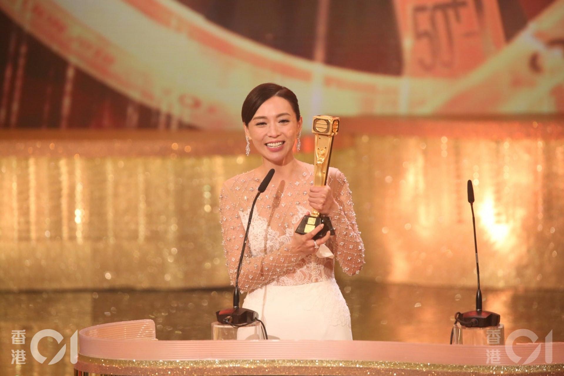 陳煒獲得《萬千星輝頒獎典禮2018》「最受歡迎電視女角色」。(黃國立攝)
