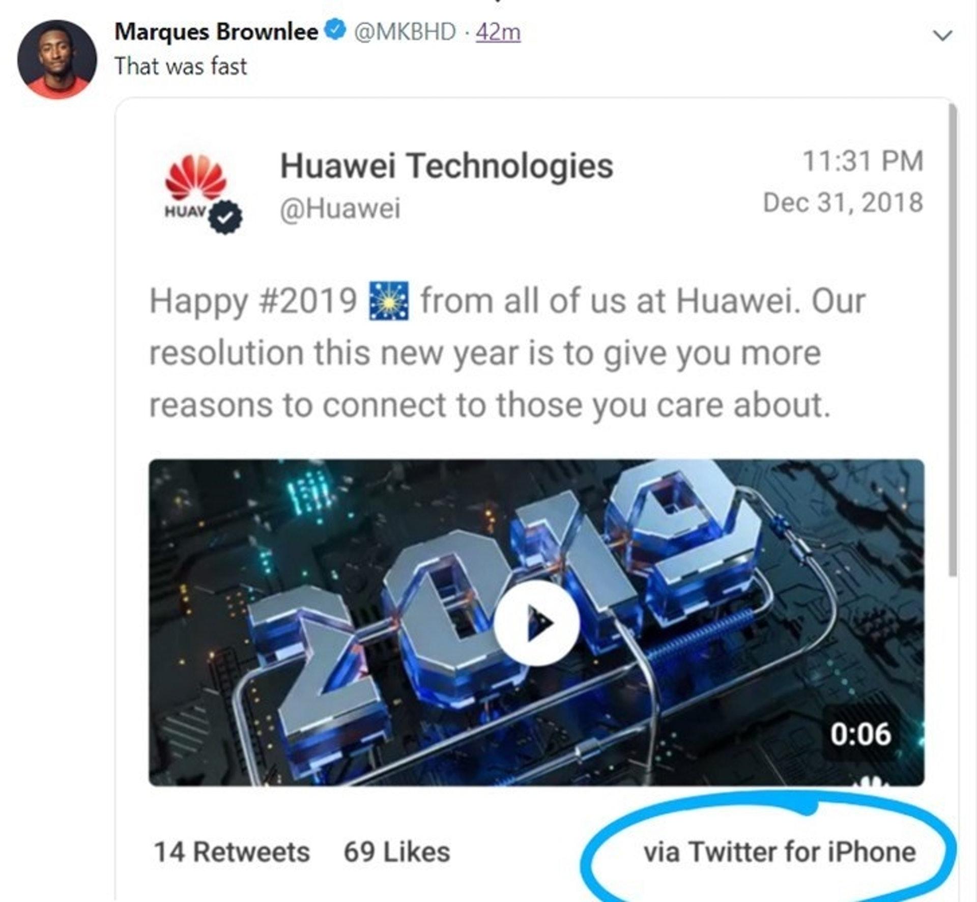 華為用iPhone發Twitter慶祝新年,雖迅速刪除但仍遭到截圖傳播。(網上圖片)
