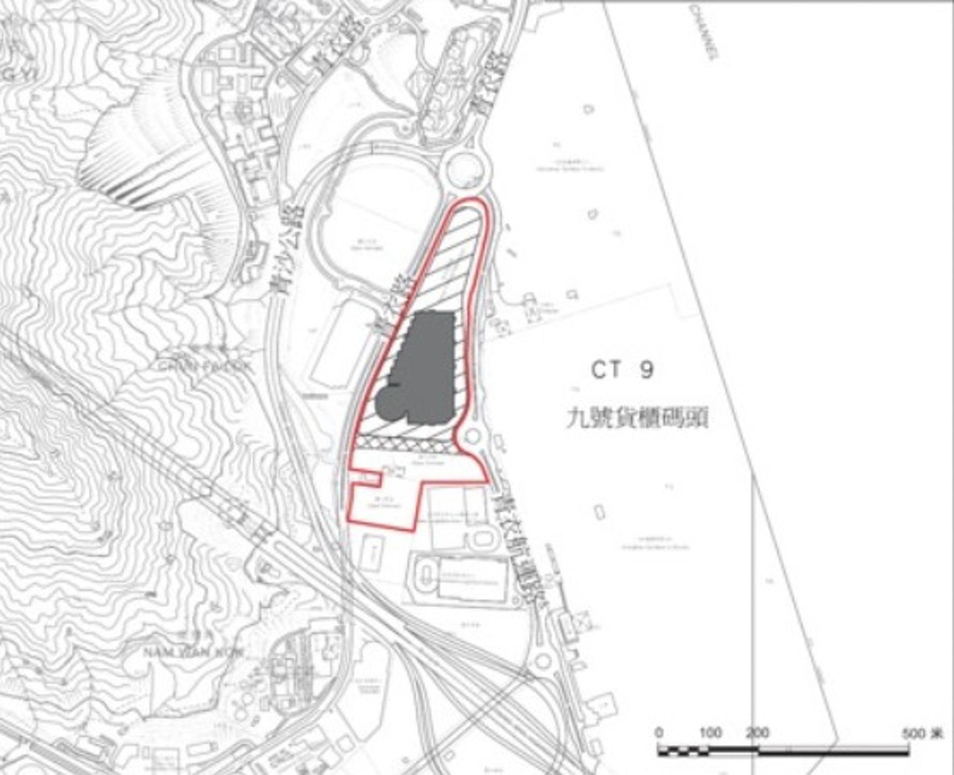 青衣多層重型貨車停車場及現代物流設施建議位置。(區議會文件)
