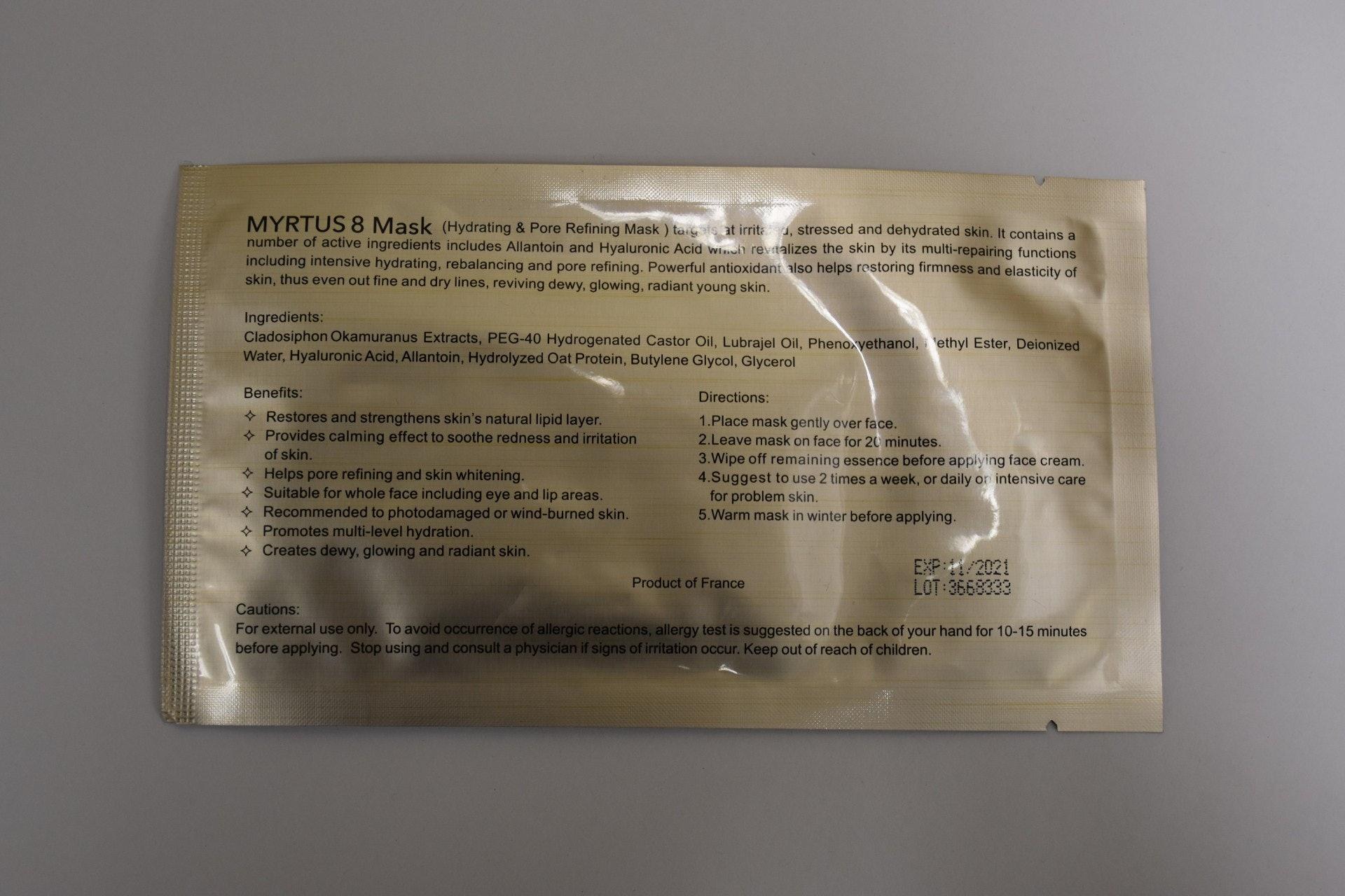 面膜「MYRTUS 8 MASK」含有類固醇物質「氟輕鬆」。(衞生署圖片)