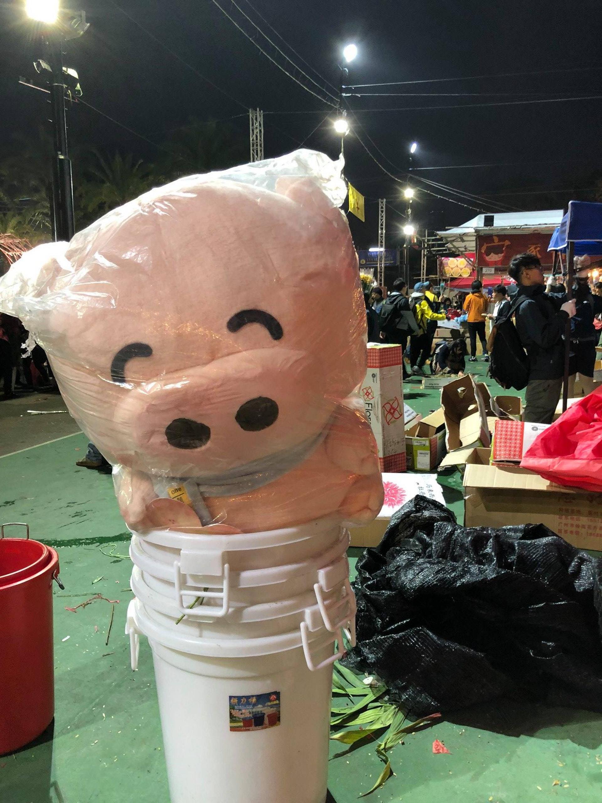 踏入豬年,可惜超大的麥兜公仔都被棄在維園年宵。(「毋忘垃圾」FB專頁)