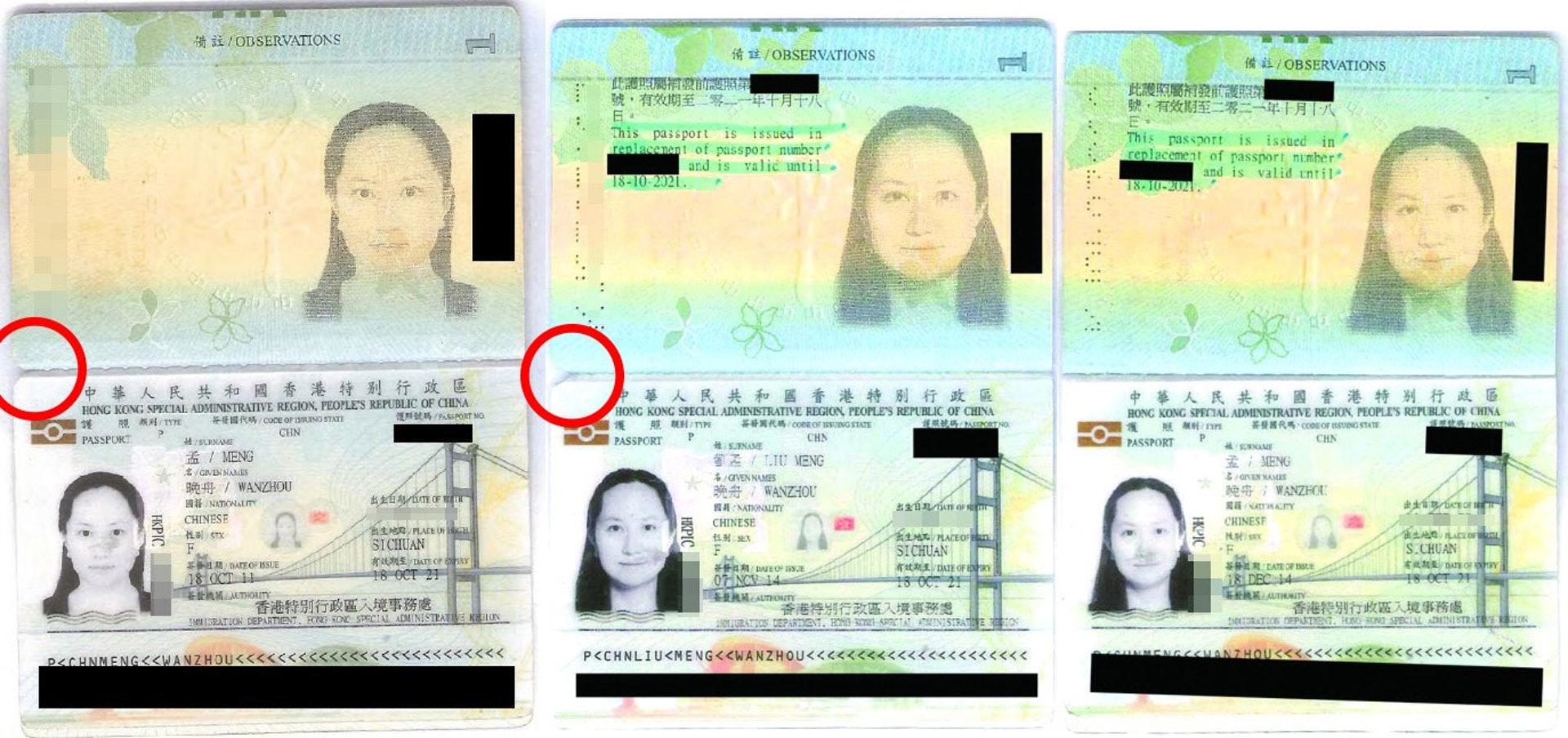 孟晚舟因改名曾多次申请特区护照,前两本已剪角註销(红圈示)。(加拿大法庭文件)