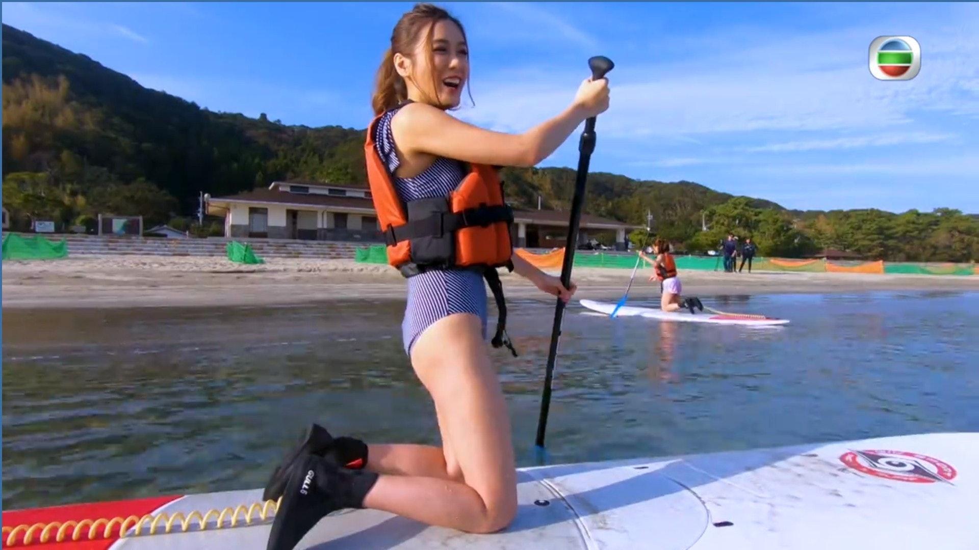 陳詩欣本身是十分怕水,所以這次也算是她人生一大考驗。(電視截圖)