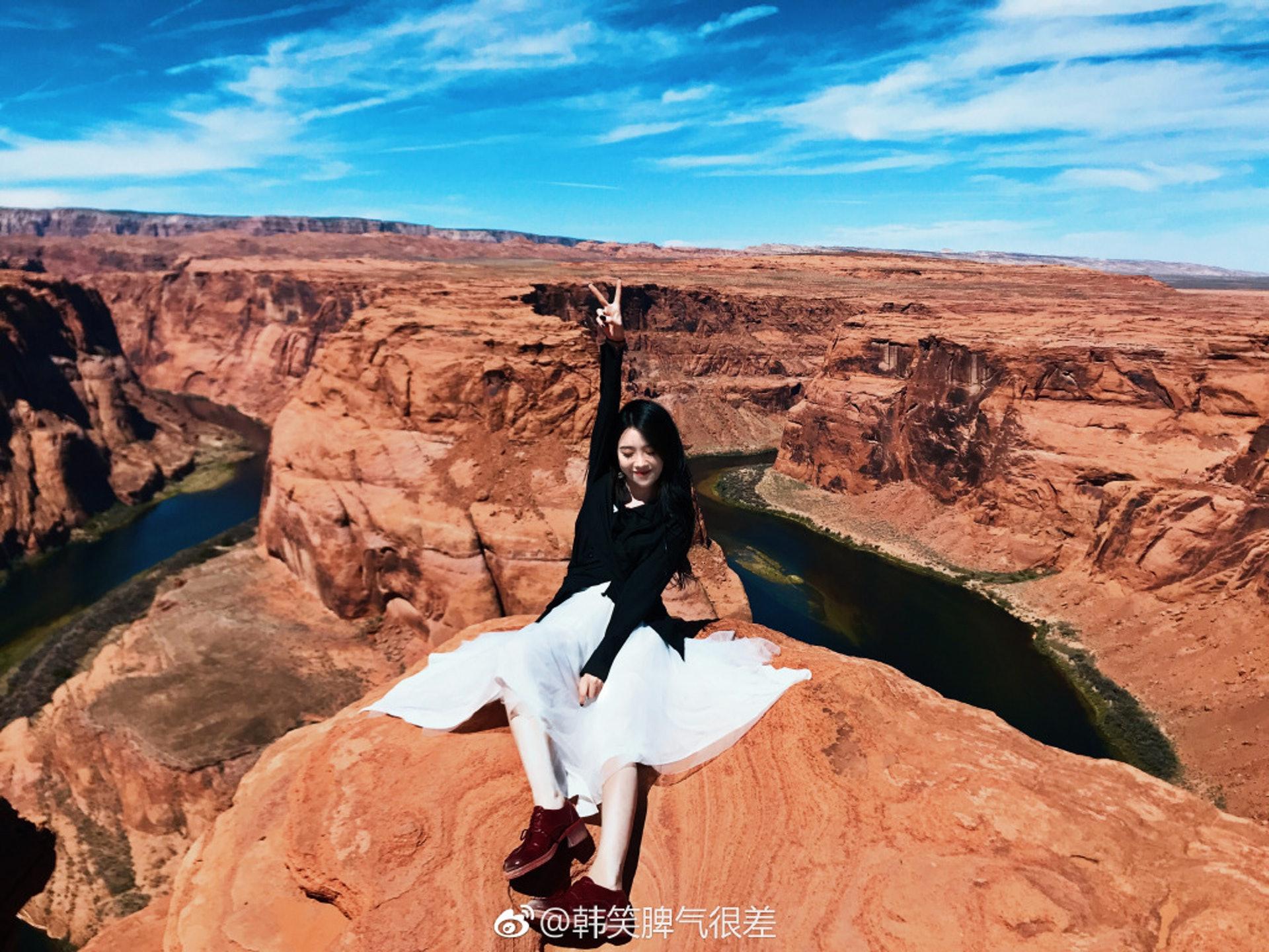 韓笑常在微博分享日常生活,包括不少旅行照。(「韓笑脾氣很差」微博圖片