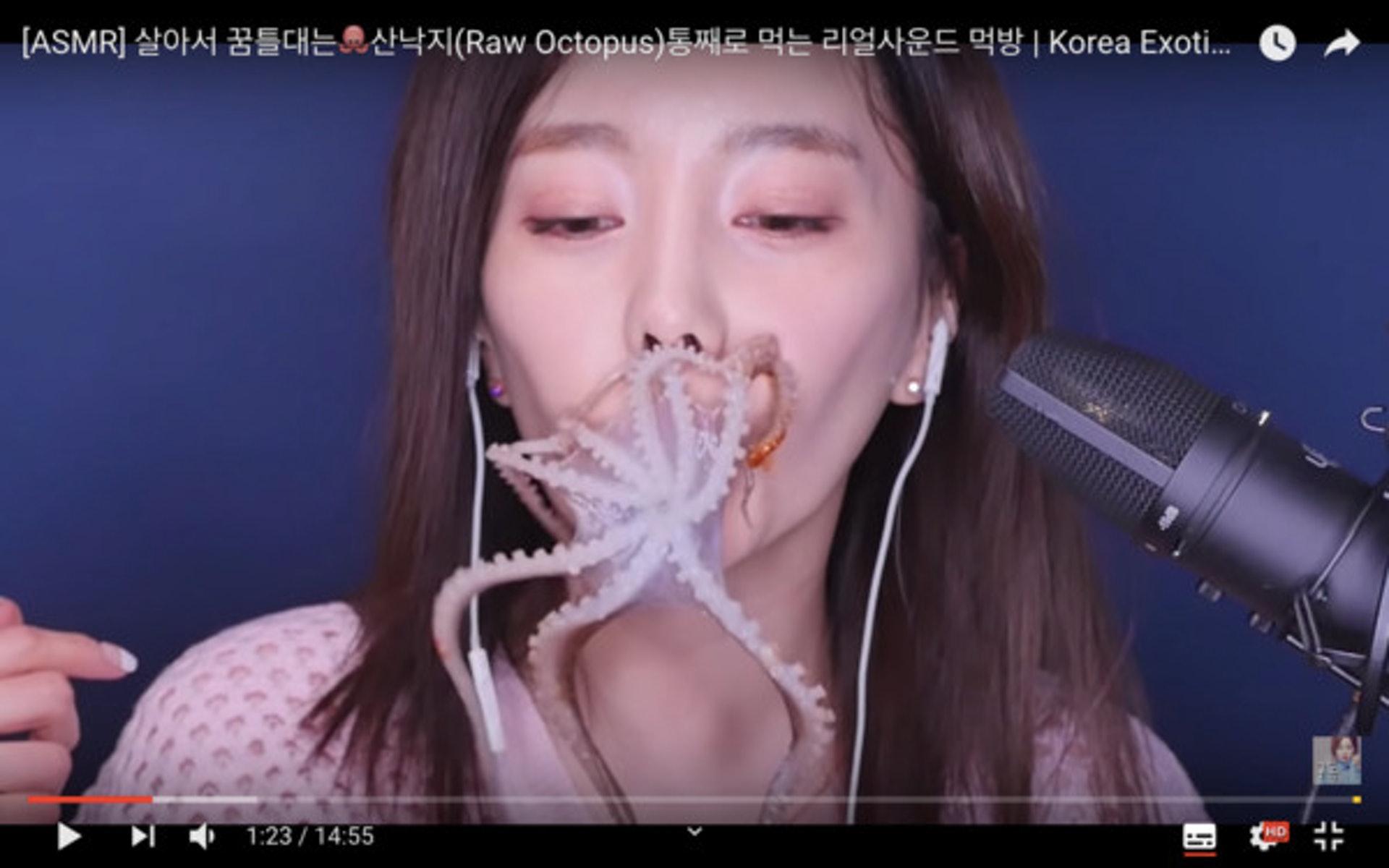 生吞原隻活八爪魚真係好恐怖。(youtube截圖)