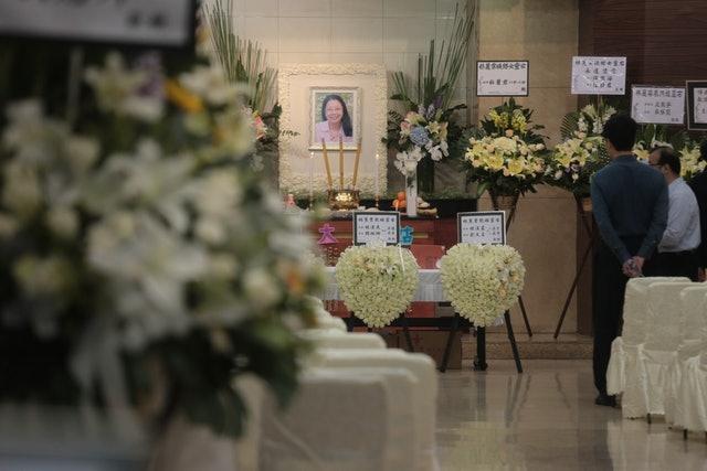 上月在李東海小學墮斃的林麗棠老師今日舉殯。 (梁銘康攝)