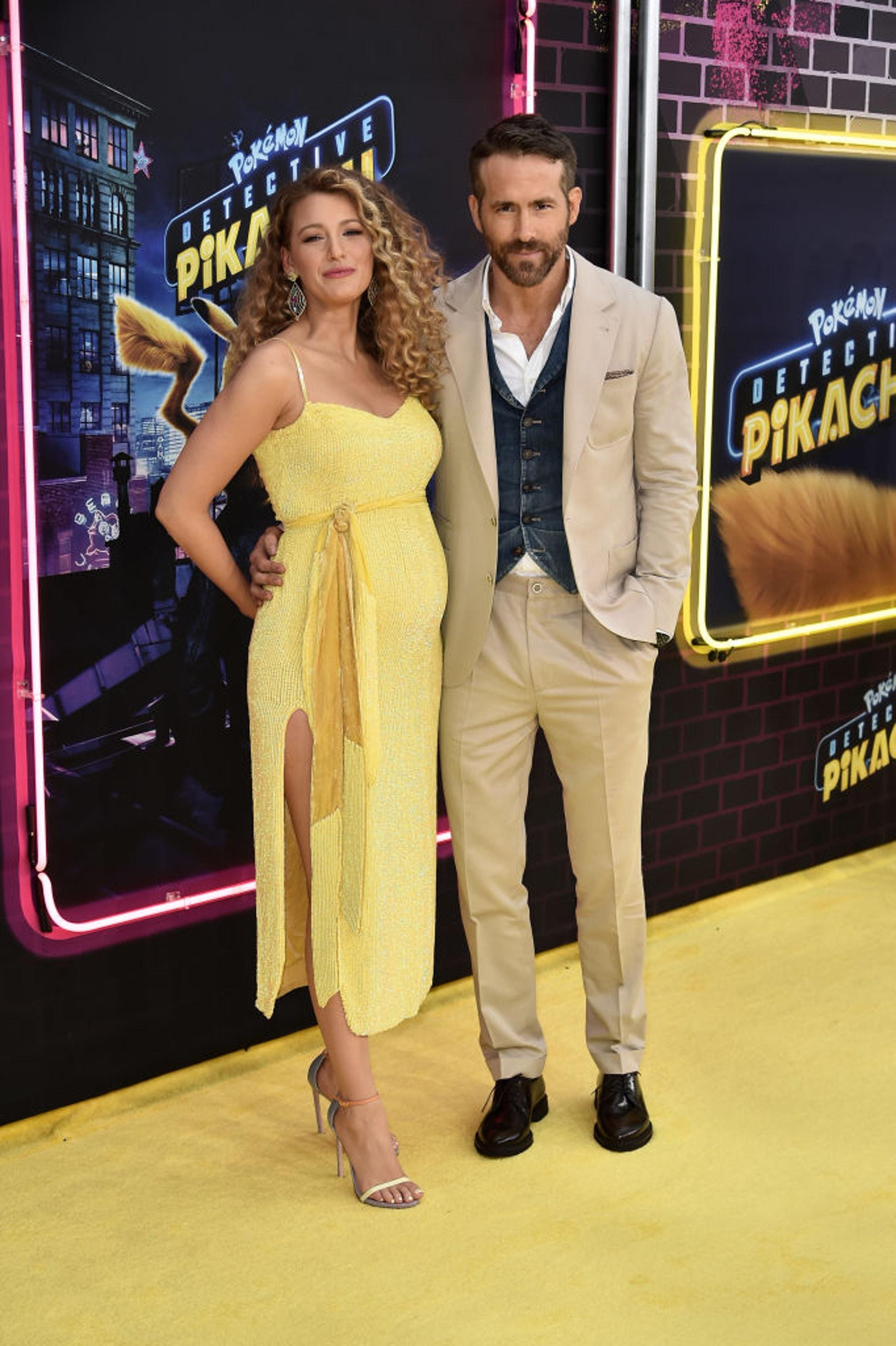 Blake Lively陪老公Ryan Reynolds出席首映禮,大肚亮相宣布懷孕喜訊!(Getty Images)
