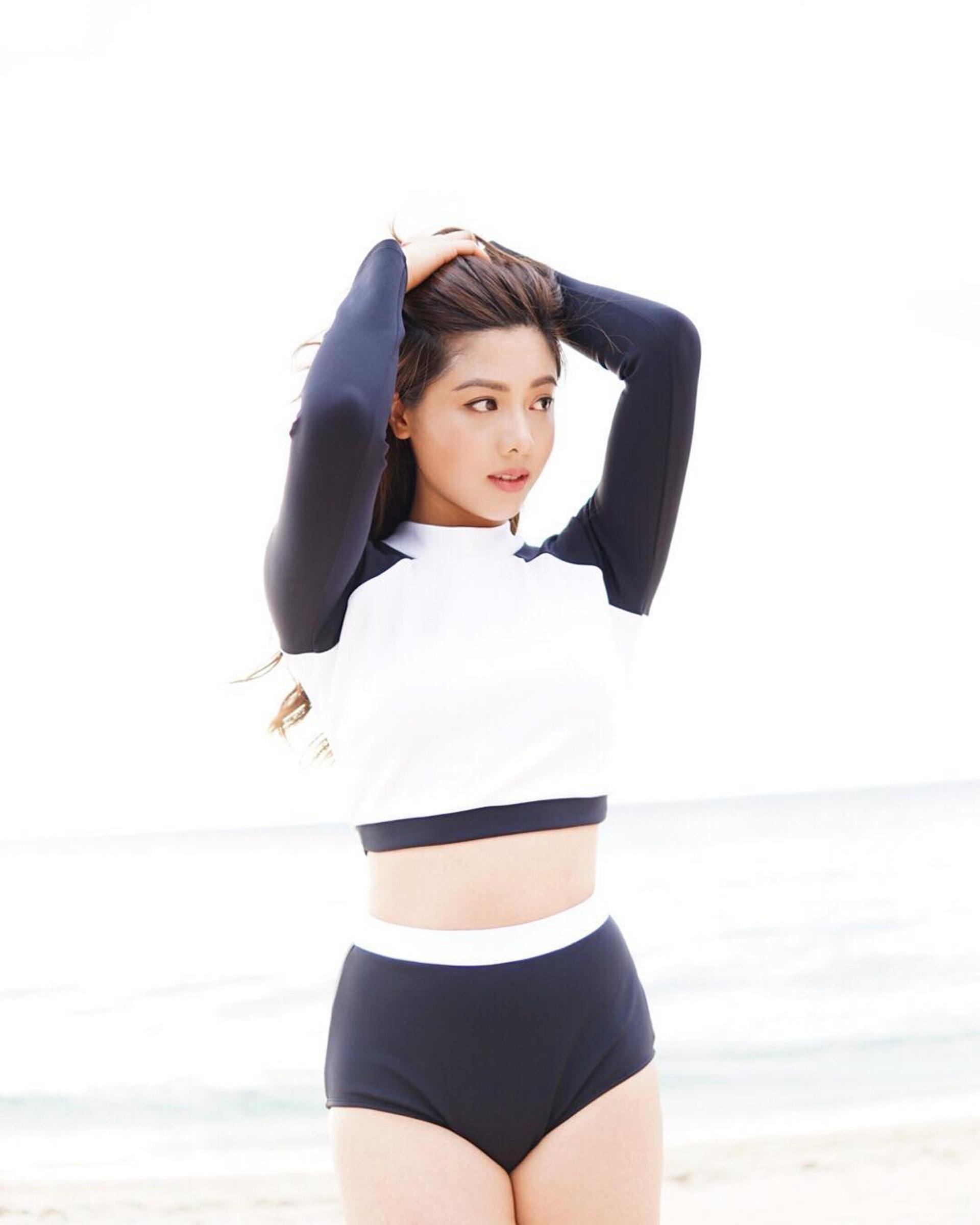 伍樂怡表示,這件防曬滑水衣設計特別顯瘦。
