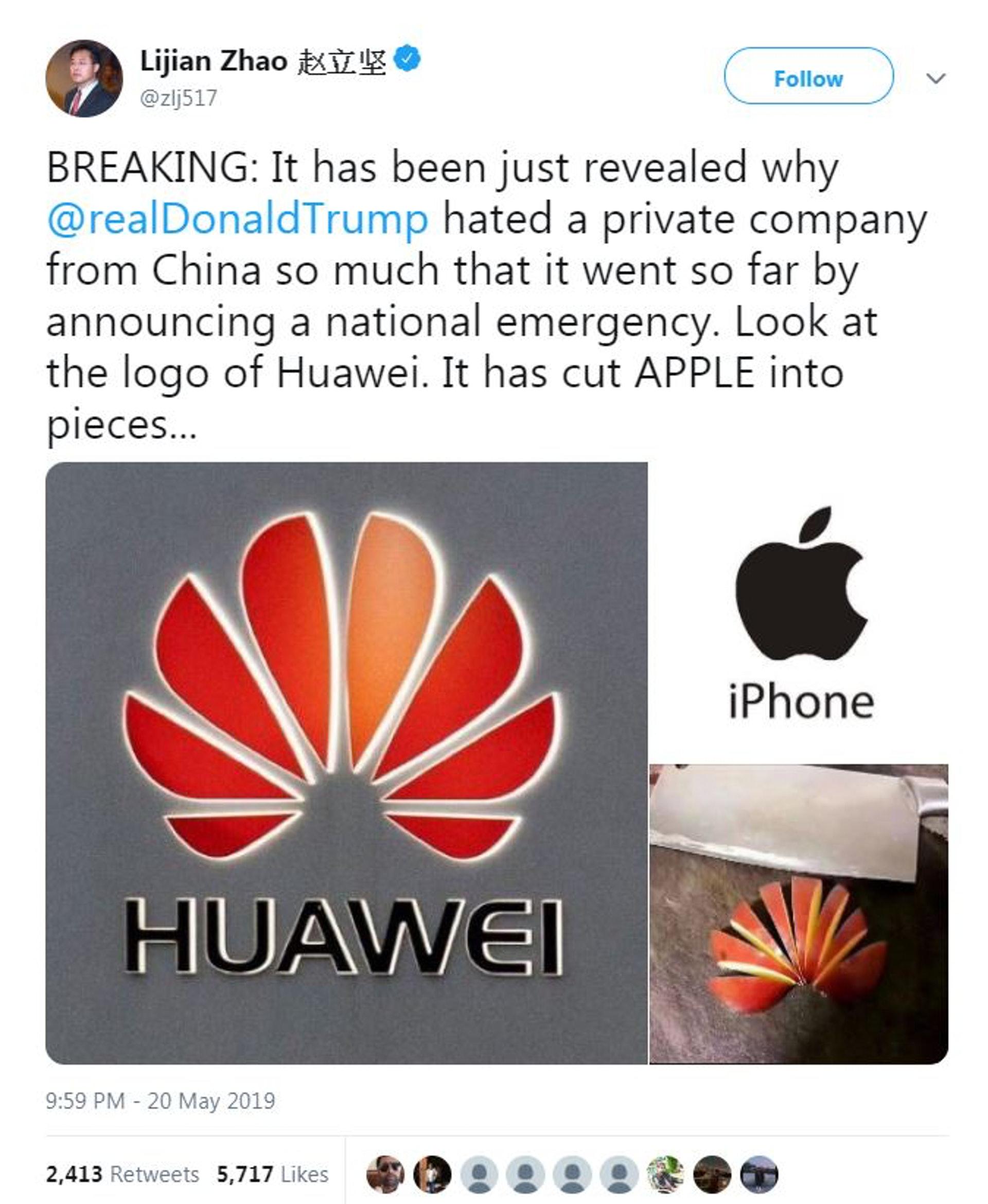 中國外交官趙立堅在Twitter轉發網圖,稱特朗普如此討厭一間中國民營公司,因為華為的商標把蘋果切成片。(趙立堅Twitter截圖)