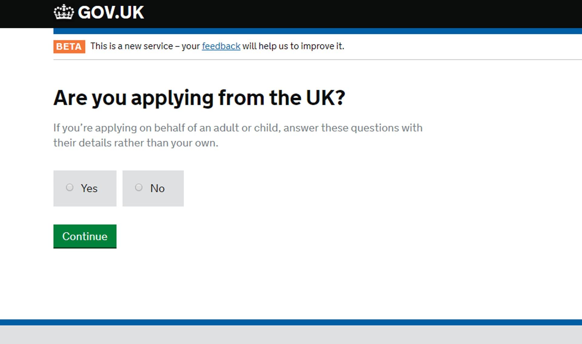 「是否在英國進行申請」,一般應選「NO」(GOV.UK 網站截圖)