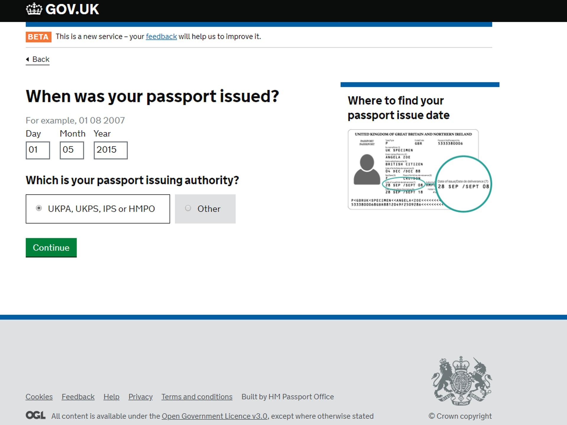 「舊 BNO 的簽發日期」(GOV.UK 網站截圖)