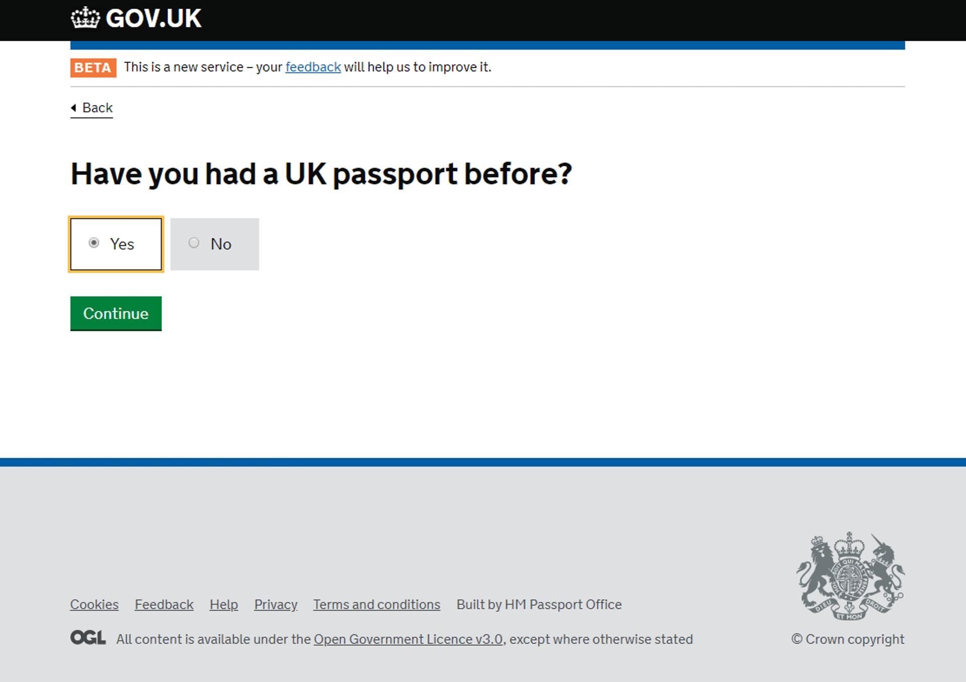 「之前有沒有 BNO」(GOV.UK 網站截圖)