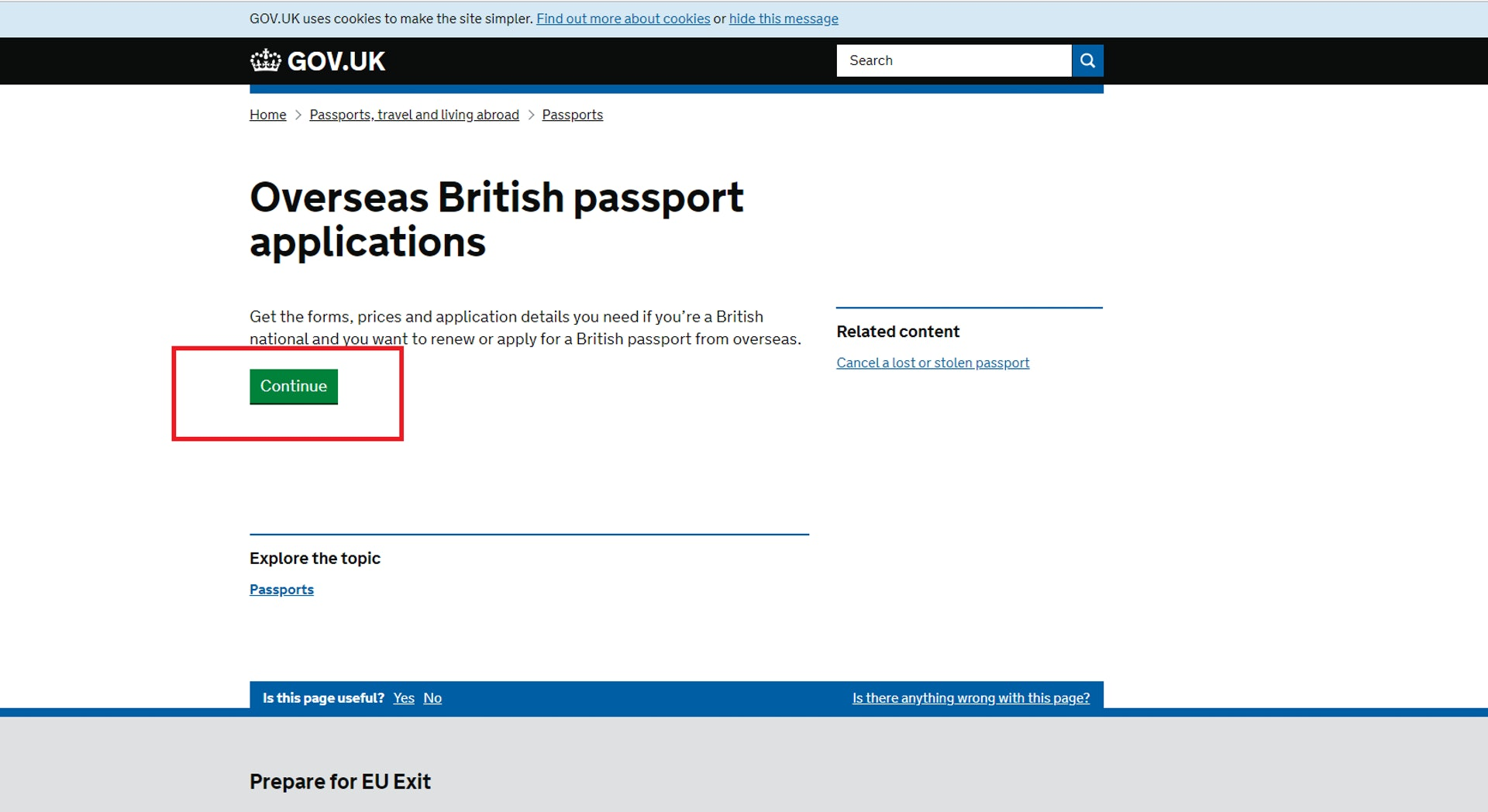 按下 「Continue」開始申請(GOV.UK 網站截圖)
