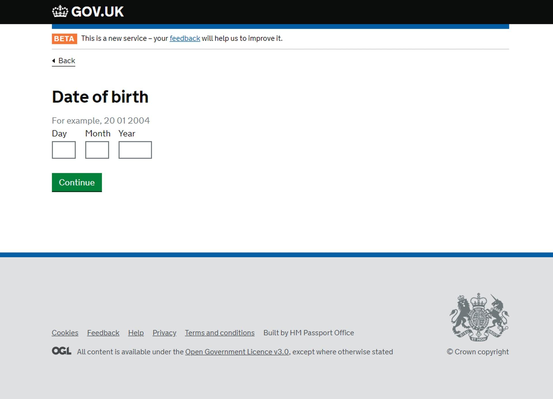 「生日日期,日/月/年」(GOV.UK 網站截圖)