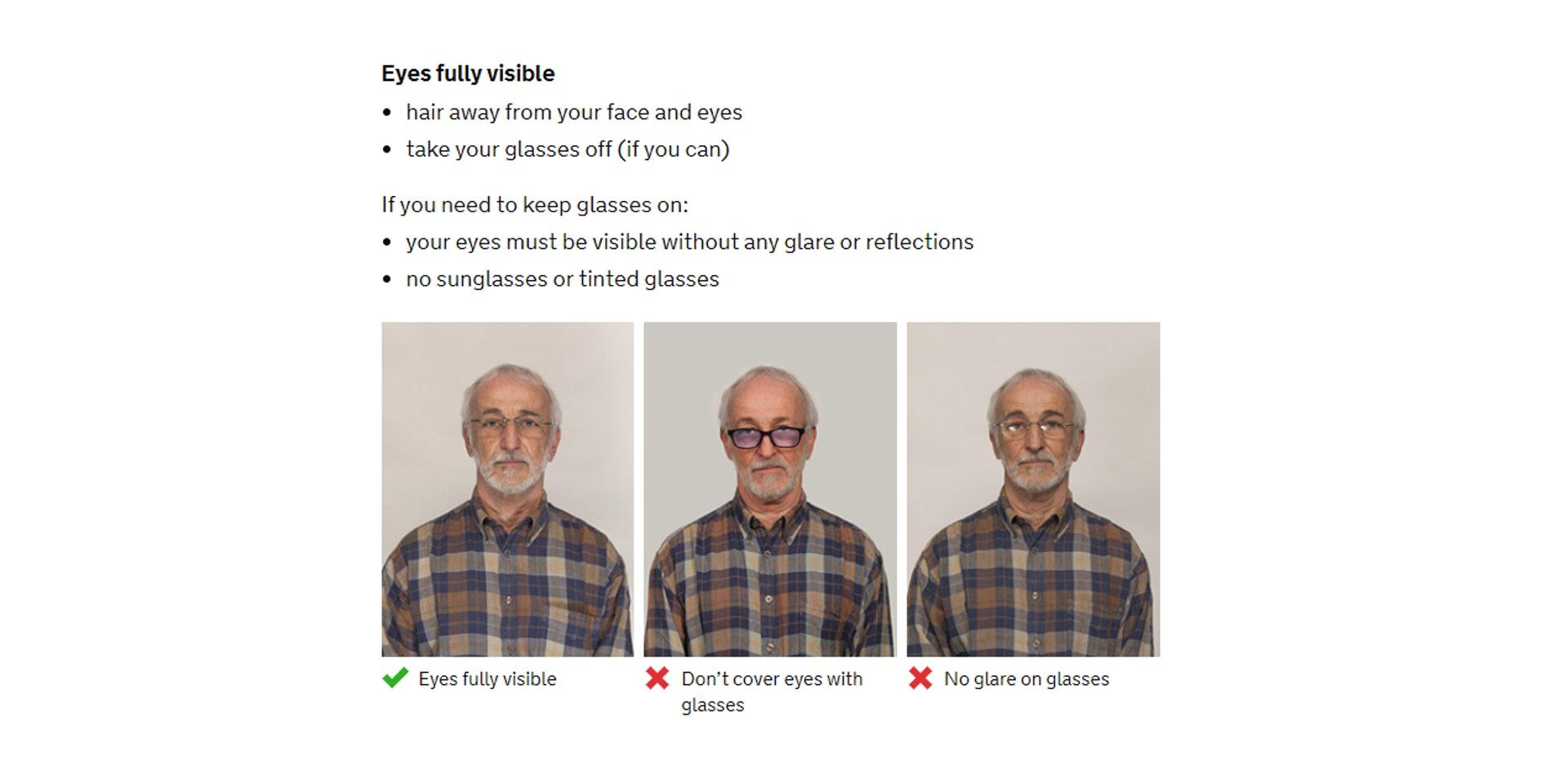 可以載眼鏡,不過最好是不配載,但不能反光﹑有顏色鏡片及遮眼(GOV.UK 網站截圖)