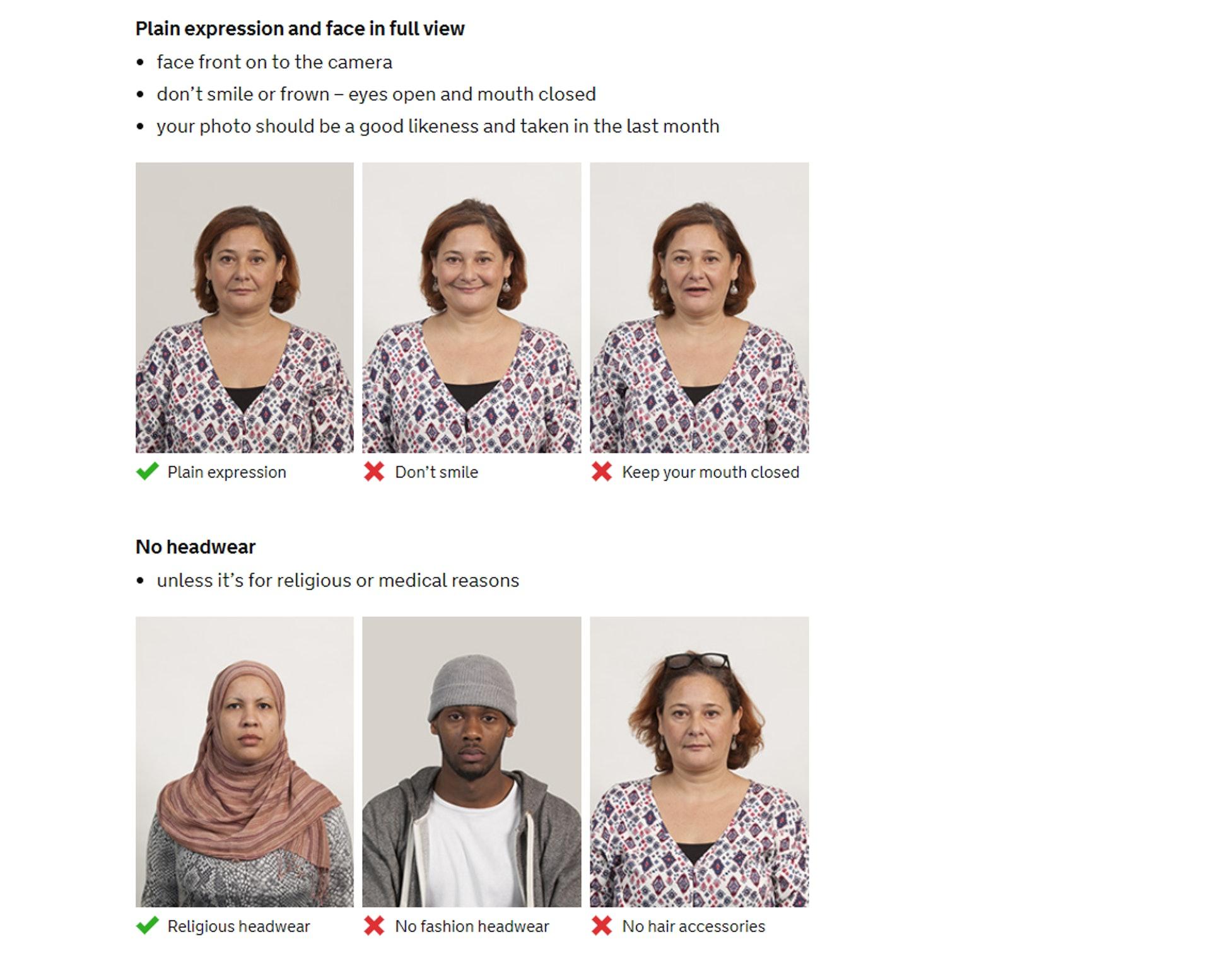 不用笑和要正面對鐘頭,不可配載頭飾,除宗教物品(GOV.UK 網站截圖)