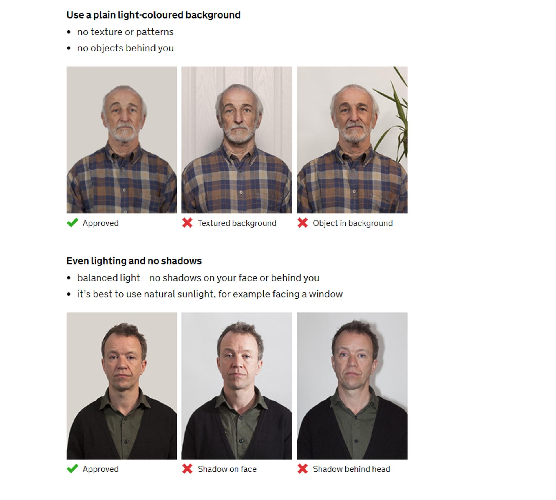 只可白色背景,面和背景也不能有陰影(GOV.UK 網站截圖)