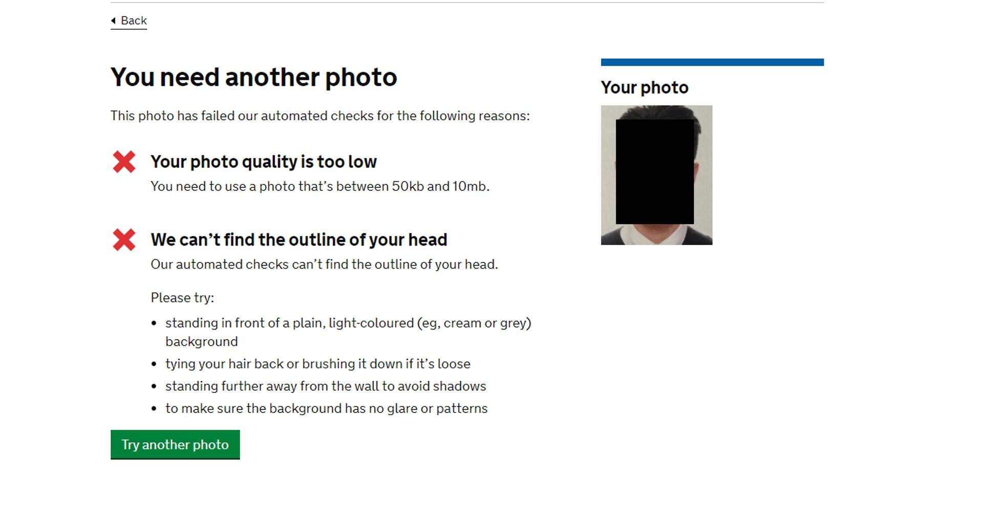 如果相片不合要求,會有系統提示(GOV.UK 網站截圖)