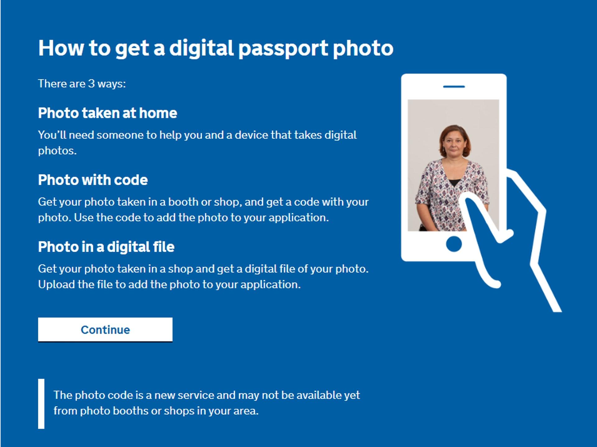 現在不用寄相到英國,只要在新系統上載自拍照即可,極之方便。(GOV.UK 網站截圖)