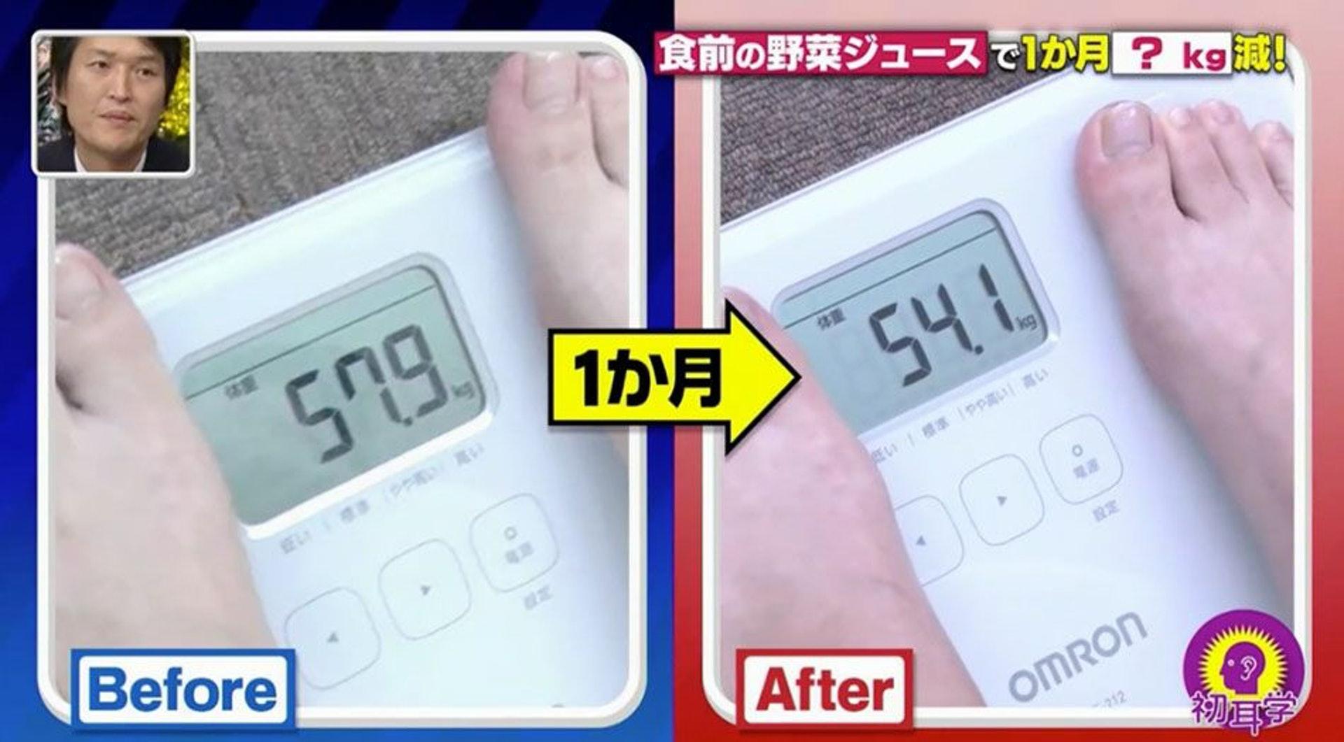 維持一個月之後,女生再上磅,體重由57.9kg減至54.1kg,足足輕了3.8kg!(日本電視台MBS節目《林先生が驚く 初耳学》截圖)