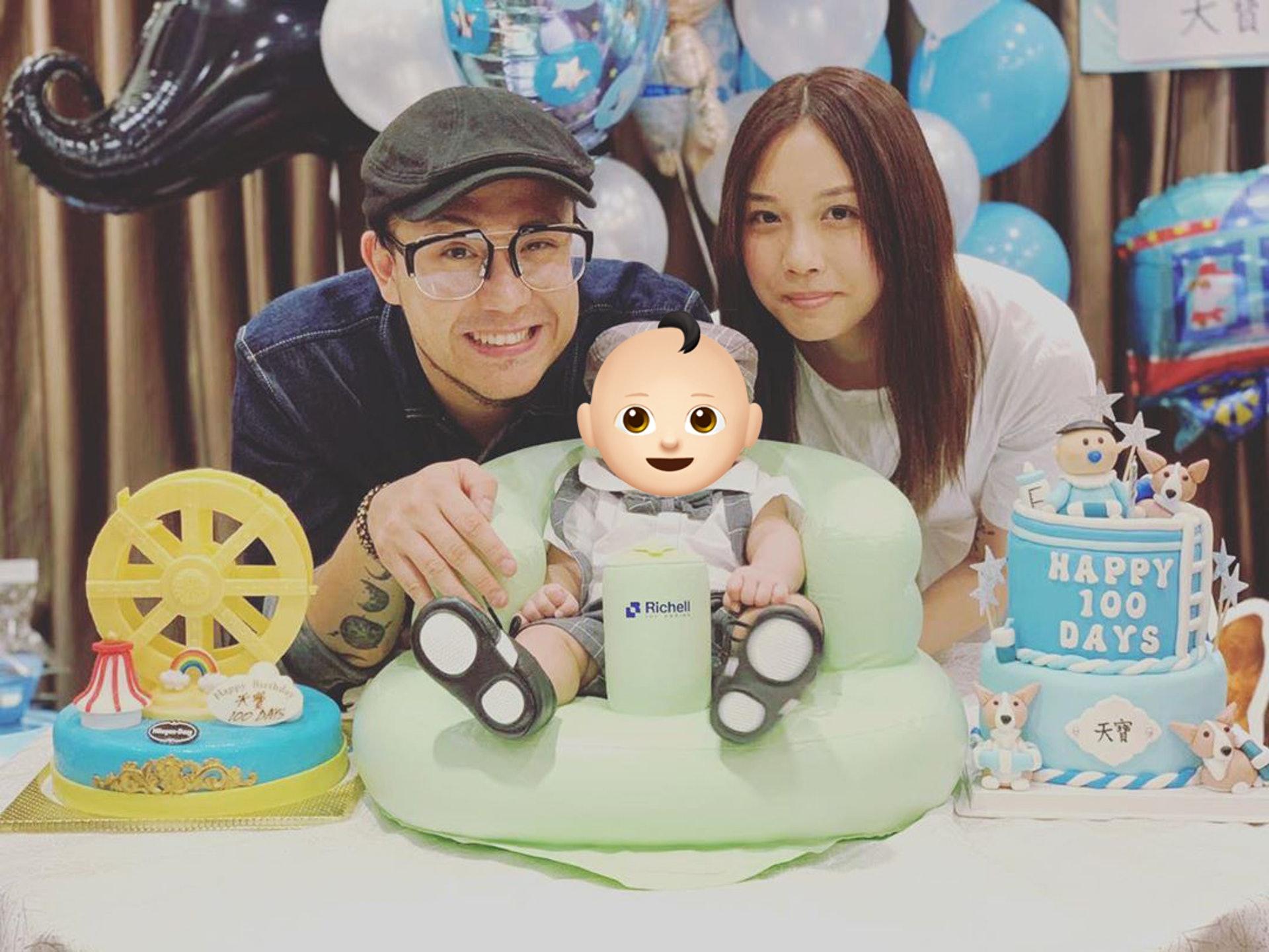 張致恆的未婚妻是一名名叫雯雯的女生,更為兒子舉行百日宴。(stevencheung@Instagram)