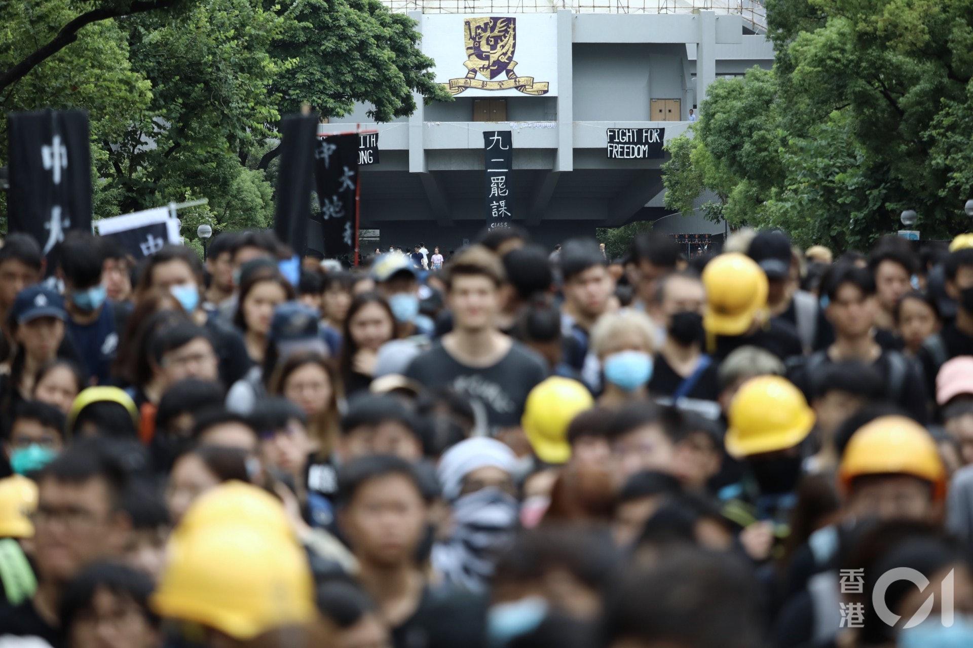 大專院校學生會於9月2日起發起學界大罷課,於中大百萬大道舉行罷課集會。(盧翊銘攝)