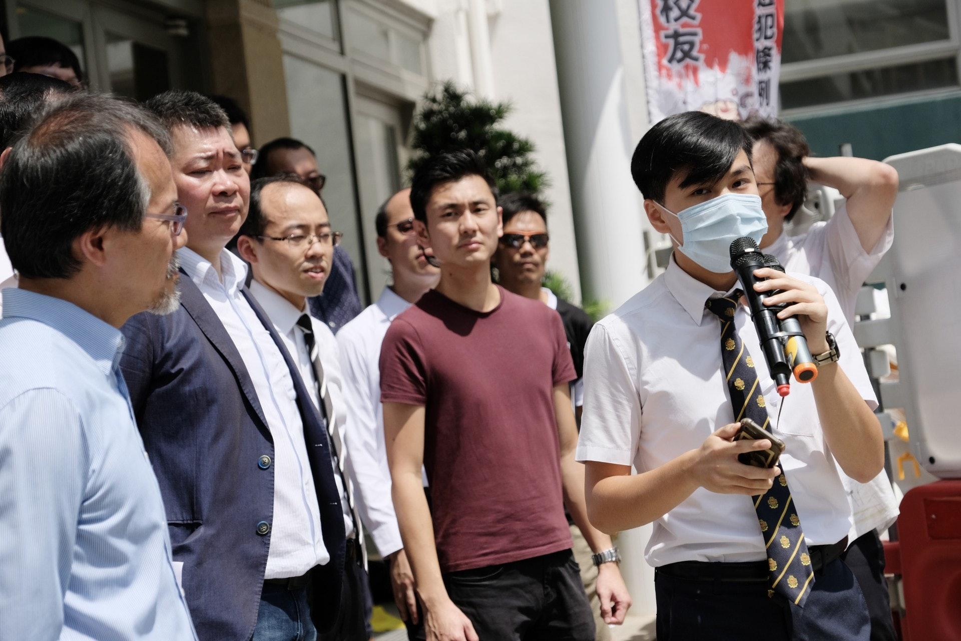 罷課召集人劉同學表示,希望藉罷課宣揚自由意志。(歐嘉樂攝)