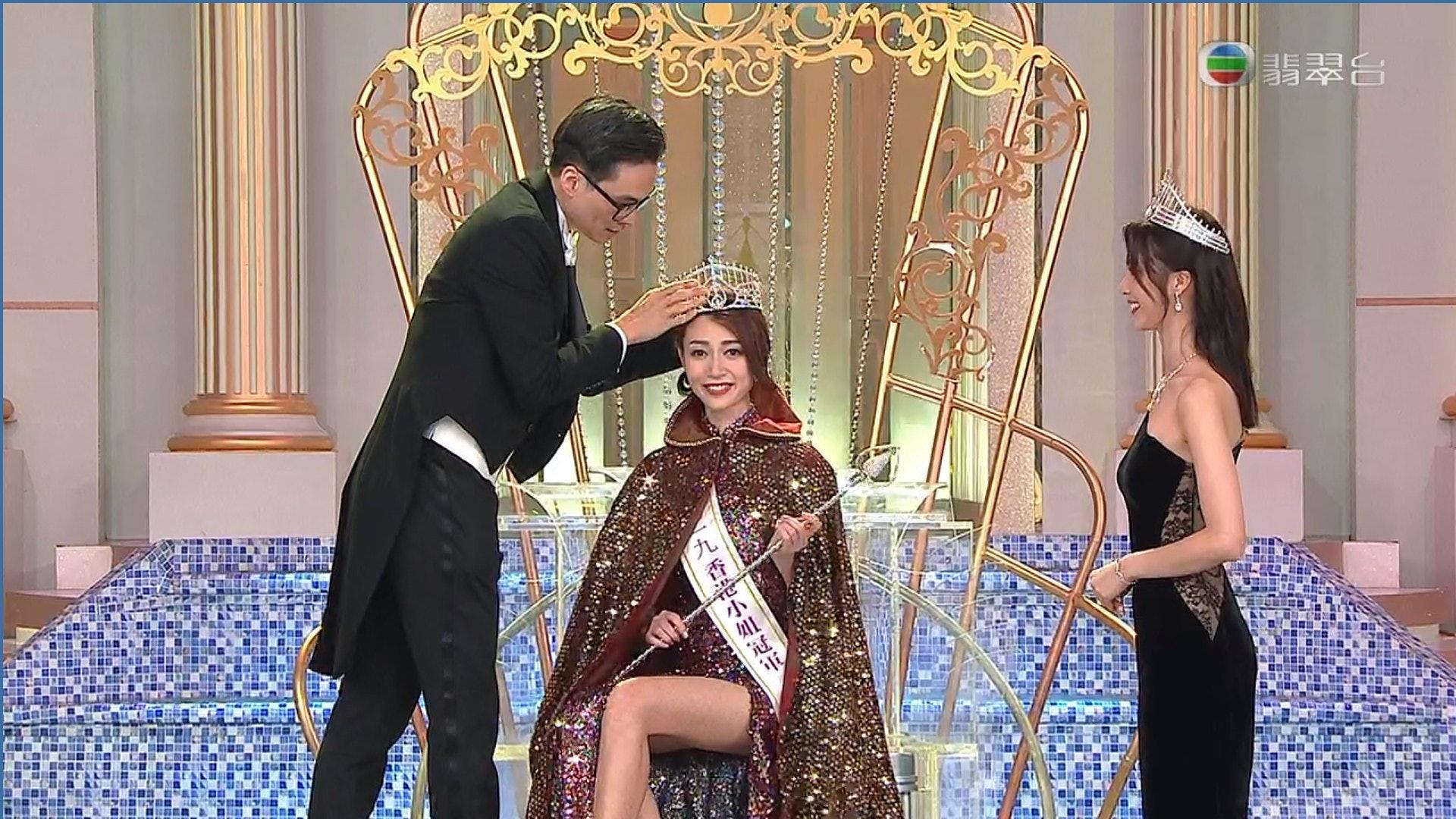 黃嘉雯昨晚以大熱姿態奪得今屆港姐冠軍。(無綫截圖)
