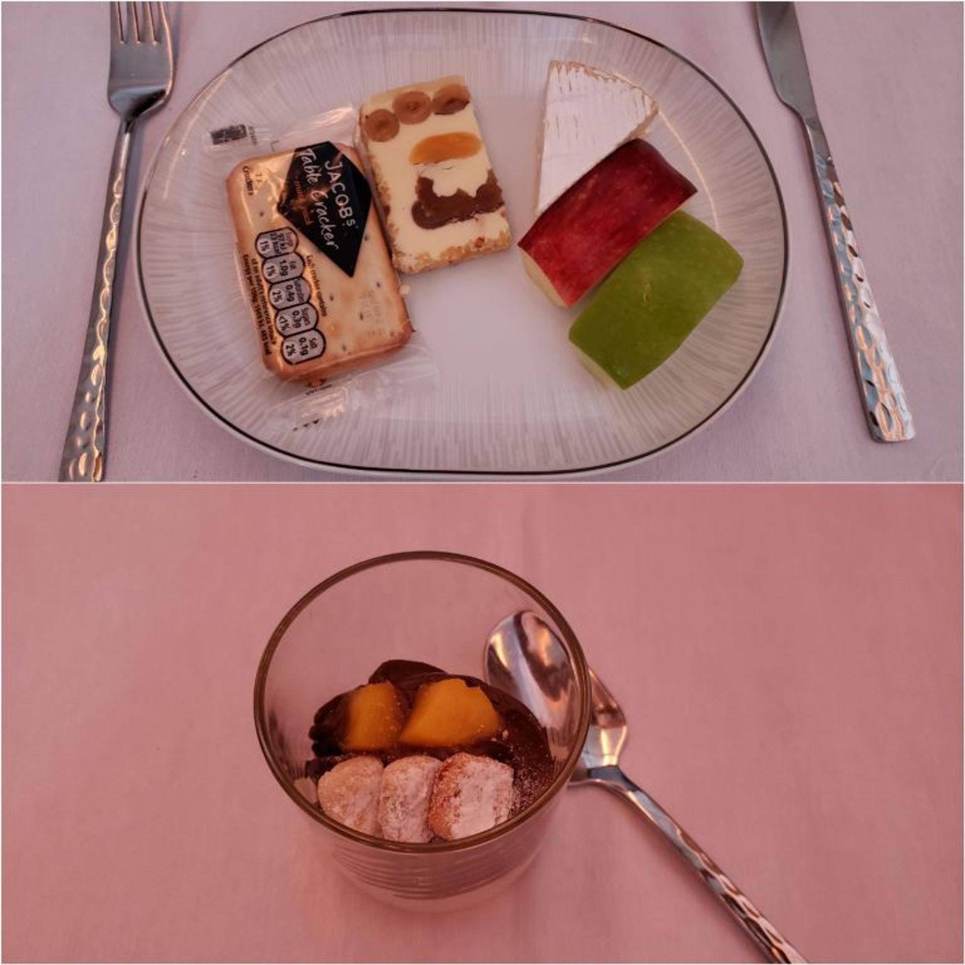 飯後的甜點(上圖為蛋糕,起司與水果,下圖為巧克力慕斯)(TripPlus授權使用)
