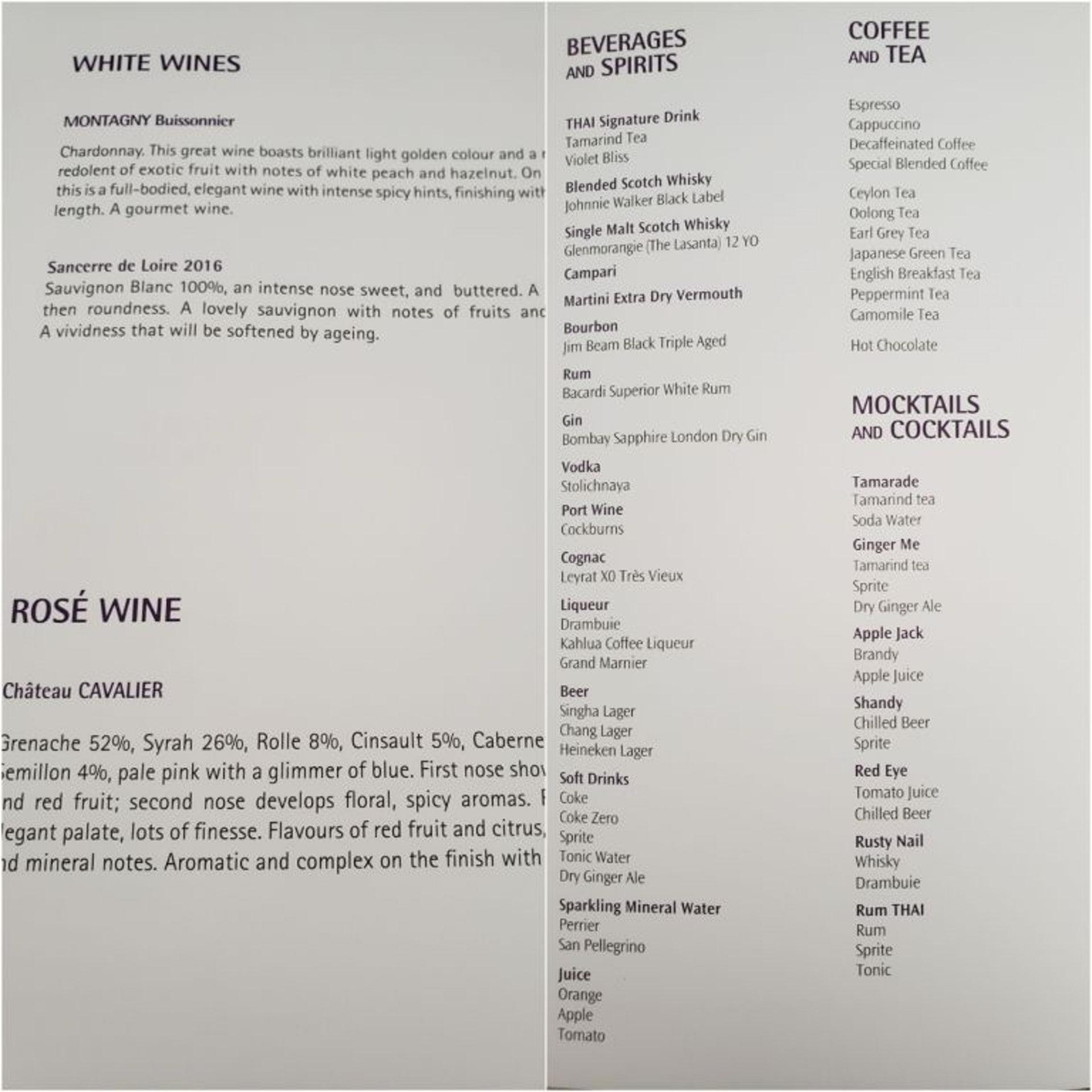 白酒/玫瑰香檳酒的選擇(左圖),與其他飲料的選擇(右圖)(TripPlus授權使用)