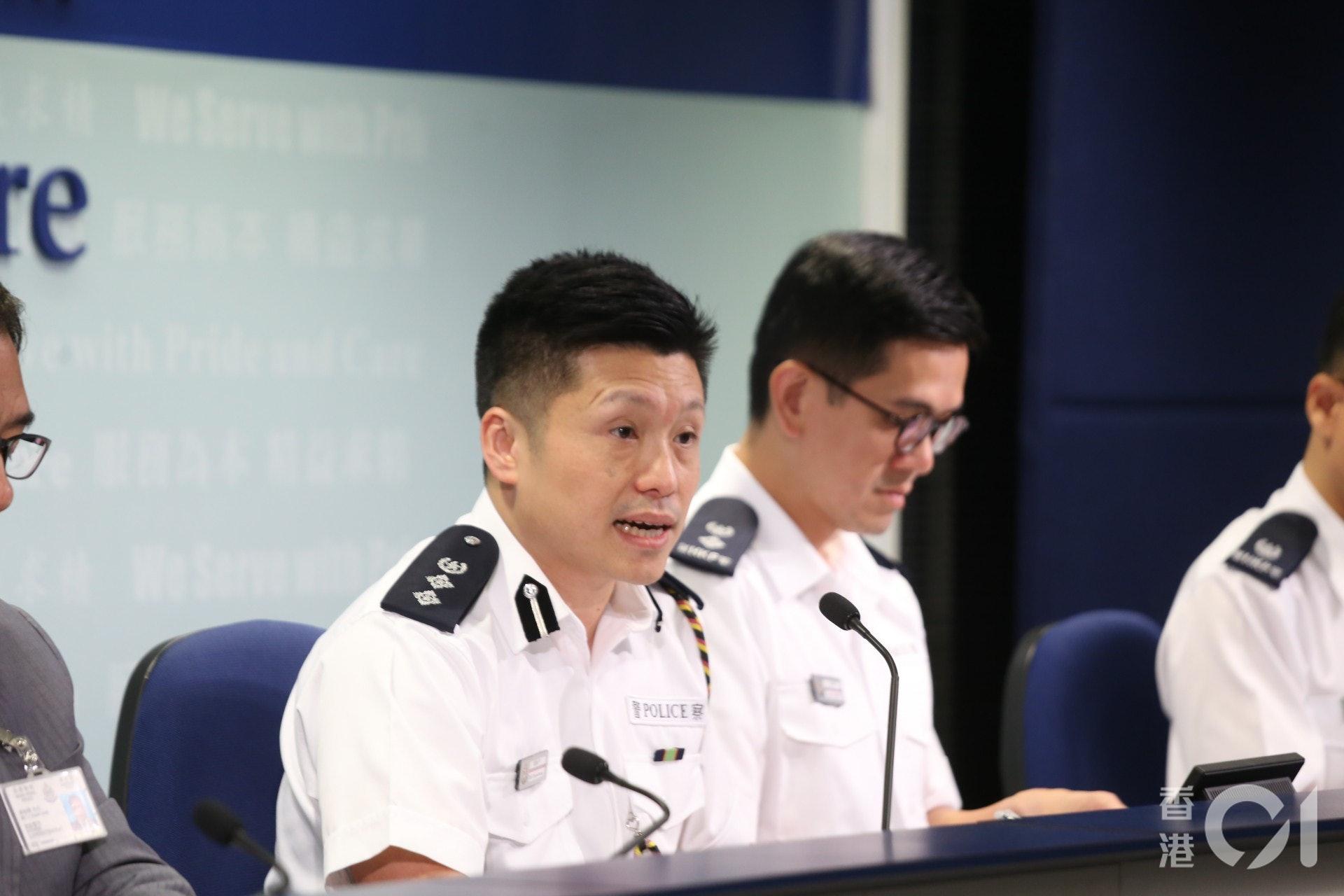 警察公共關係科總警司謝振中今日在警方記者會上表示在行動中暫停使用新屋嶺。(余睿菁攝)