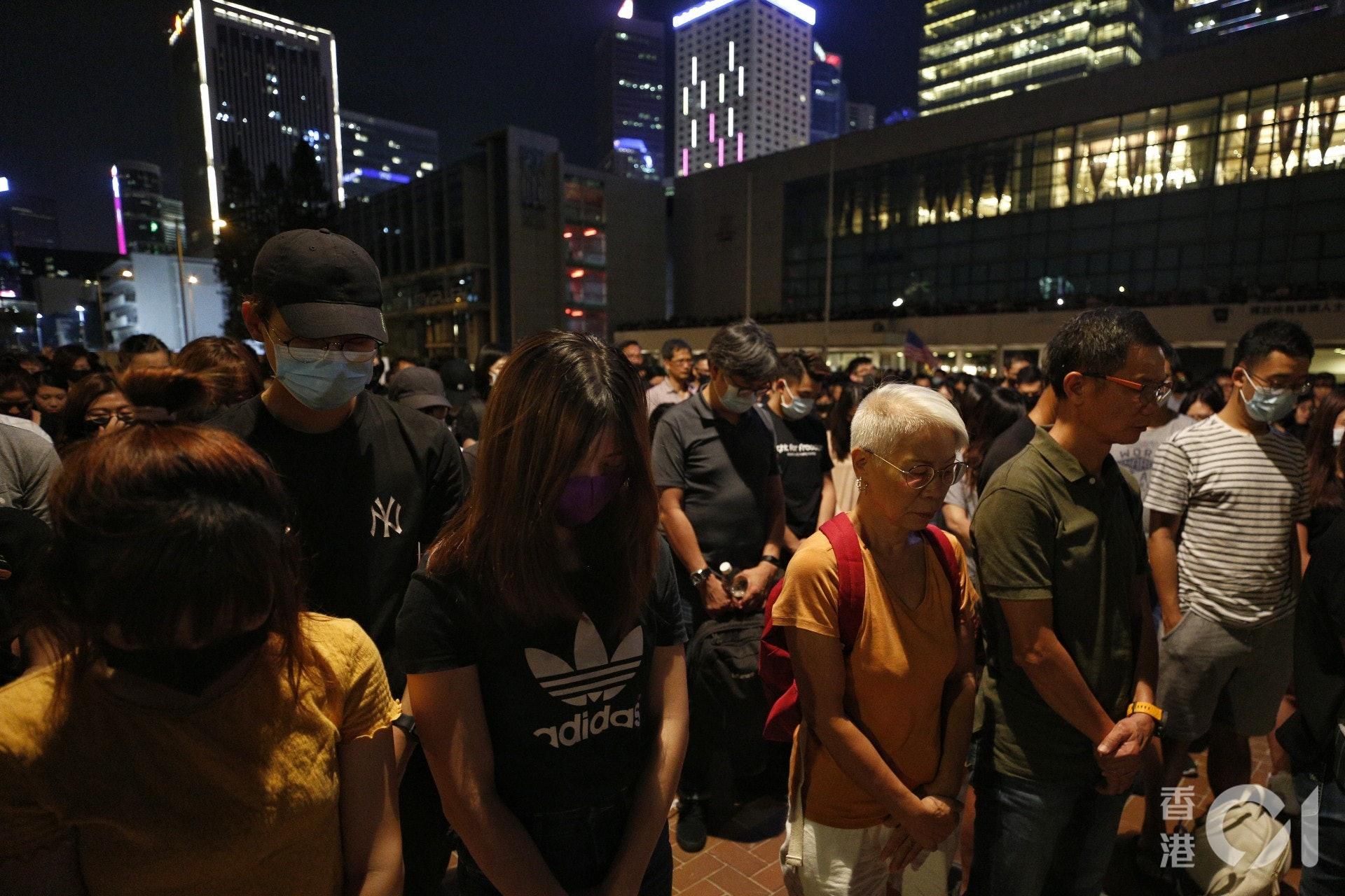 關注新屋嶺被捕者人權集會。(張浩維攝)