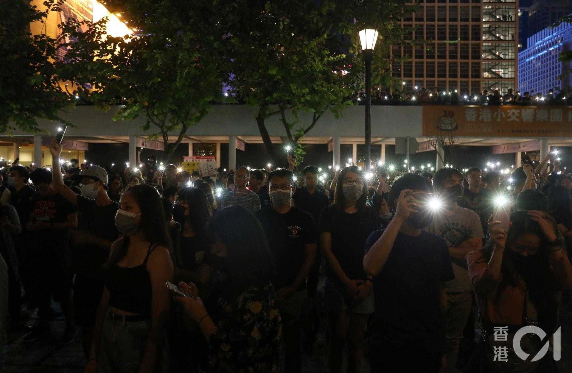 關注新屋嶺被捕者人權集會。(余睿菁攝)