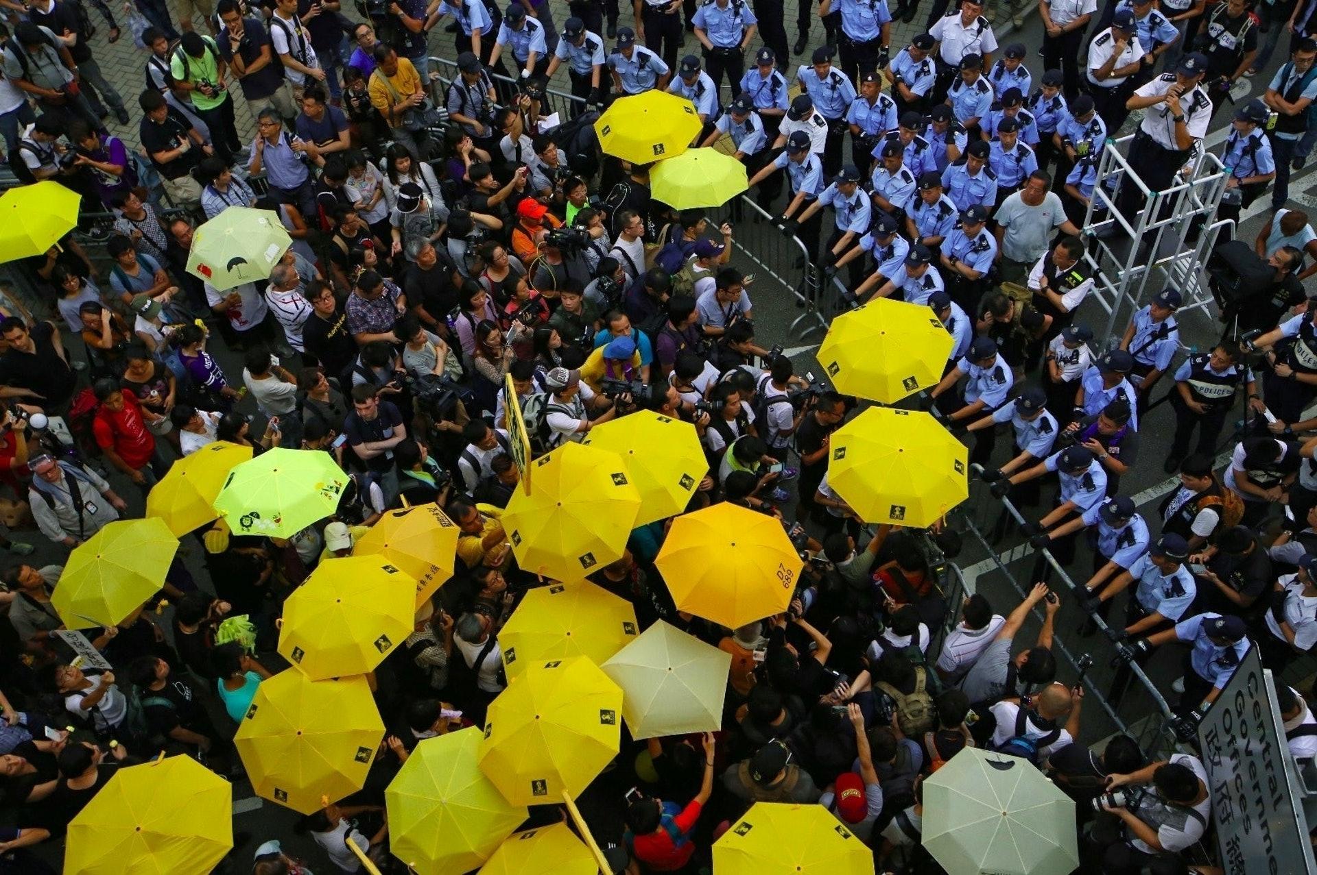 雨傘運動期間,曾觸發多場警民衝突。(資料圖片)